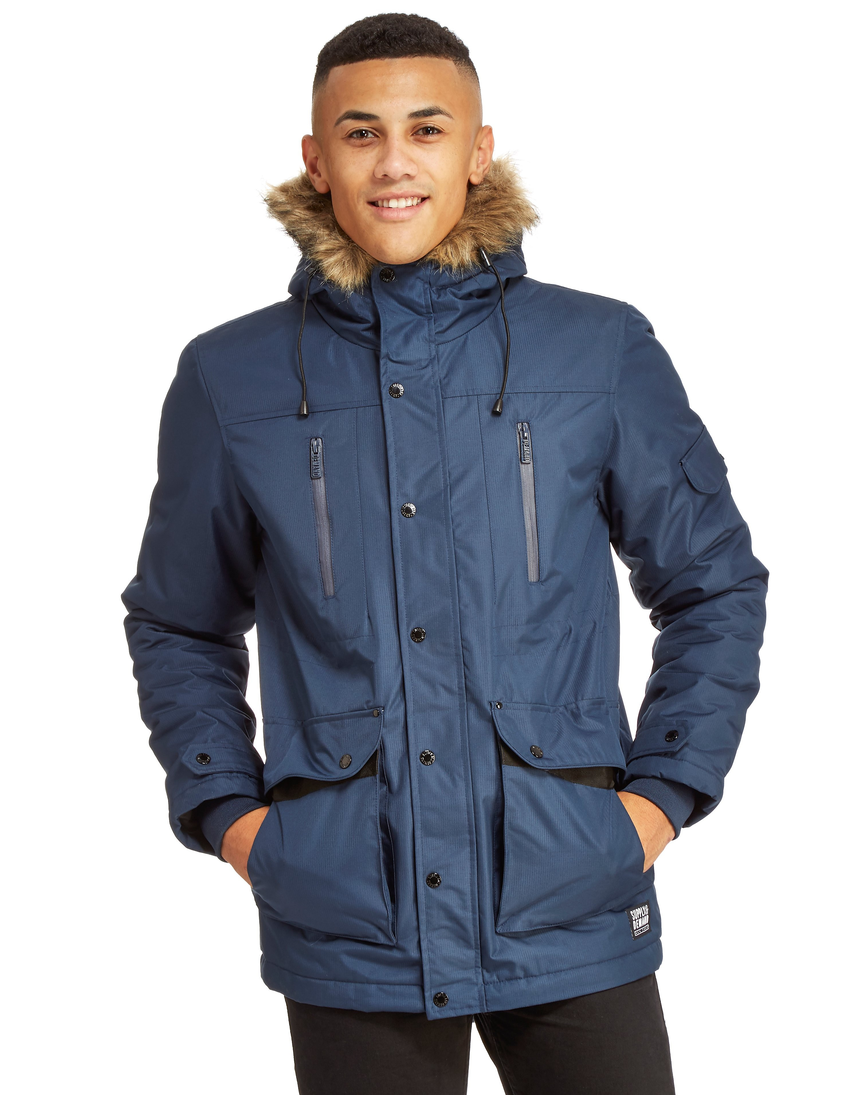 Supply & Demand Parka Jacket - Only at JD, Navy blue