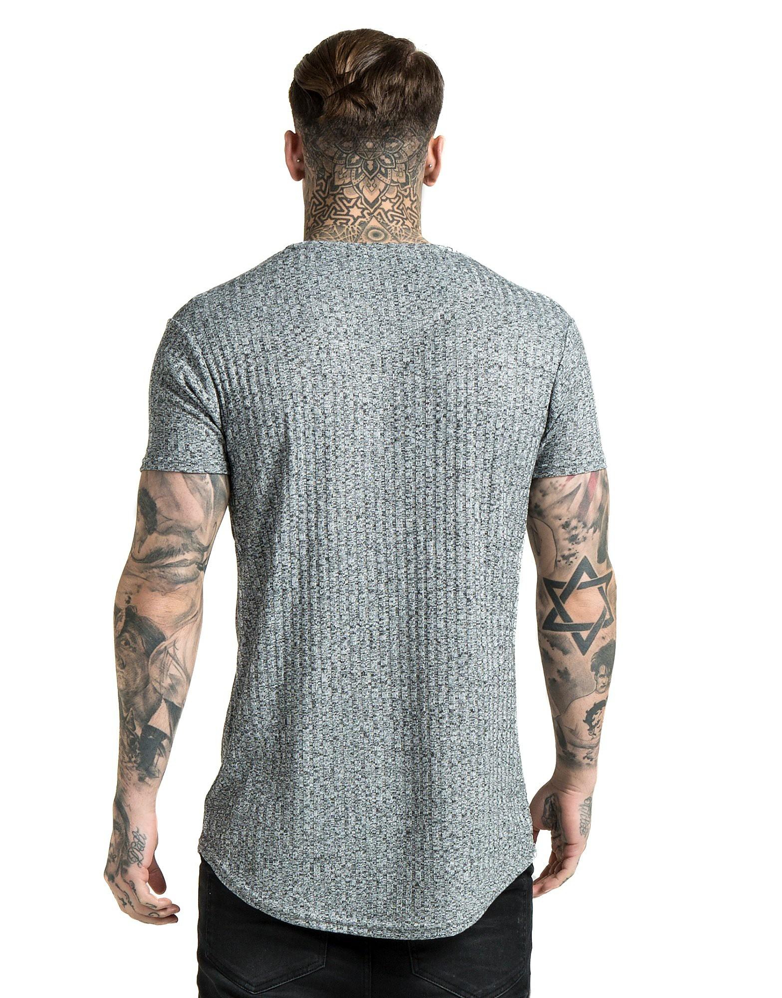 SikSilk Camiseta de punto nervado y dobladillo redondeado