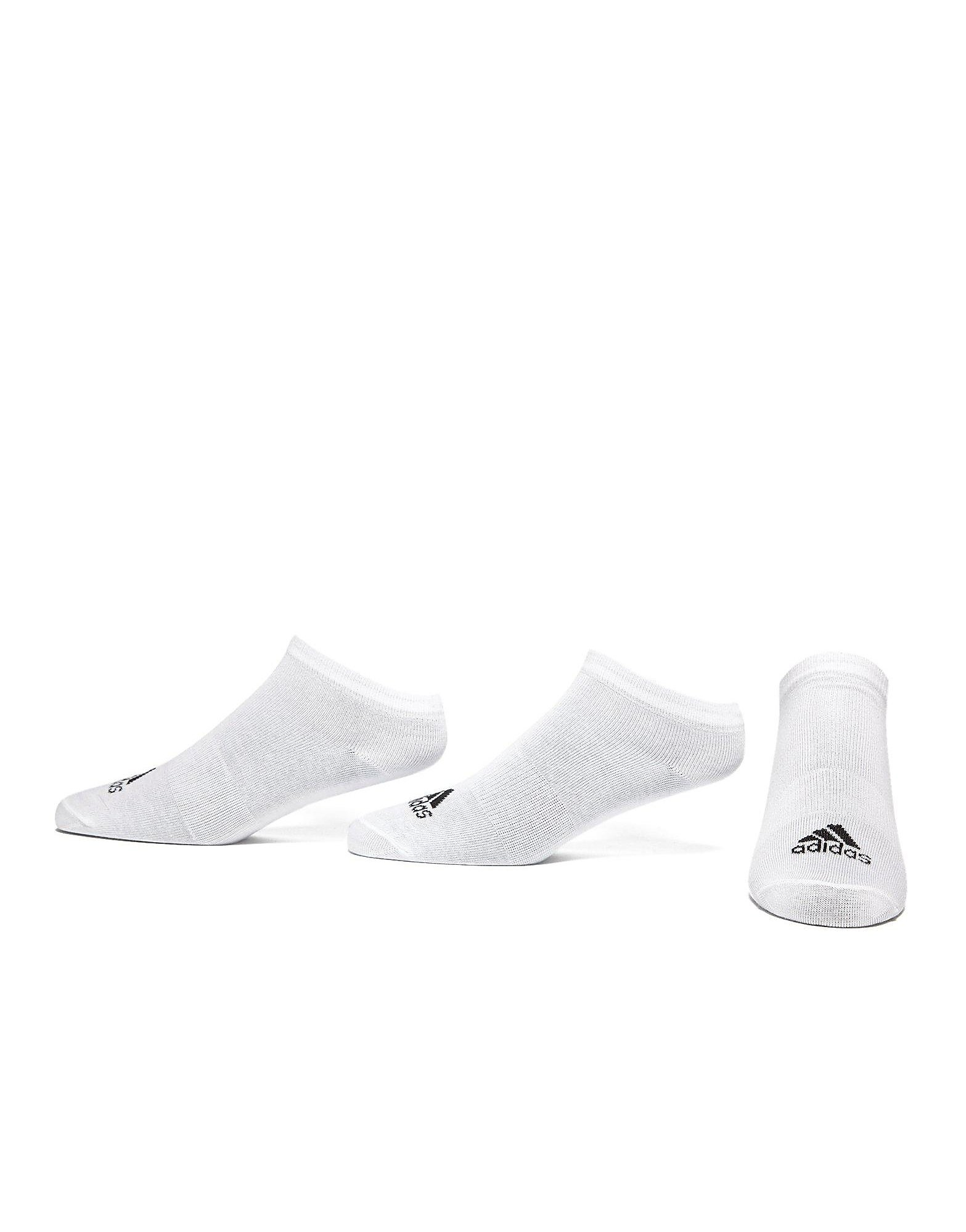 adidas Three Pack No Show Thin Socks Junior