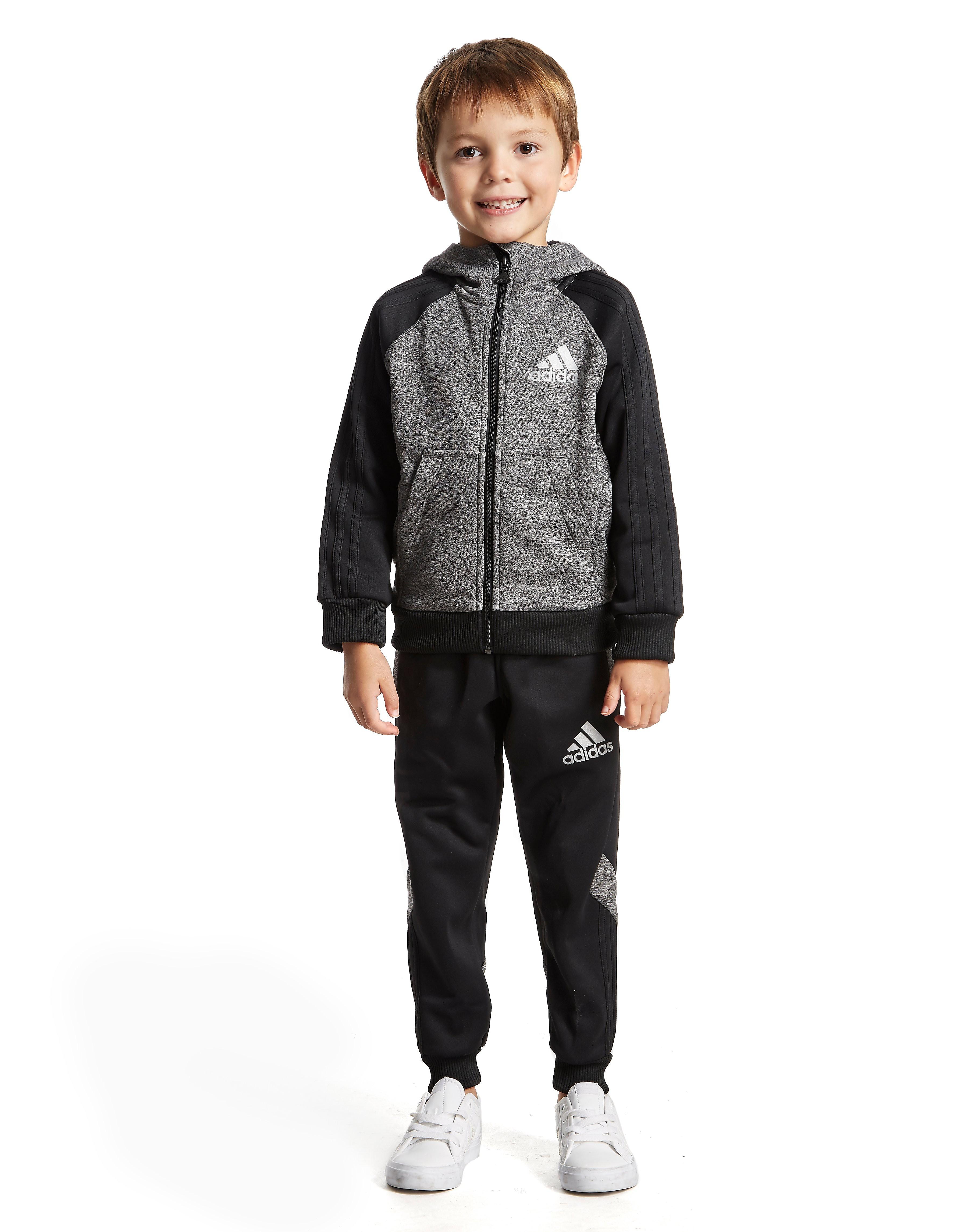 adidas Poly Marl Suit Children - alleen bij JD - Charcoal/ Black - Kind