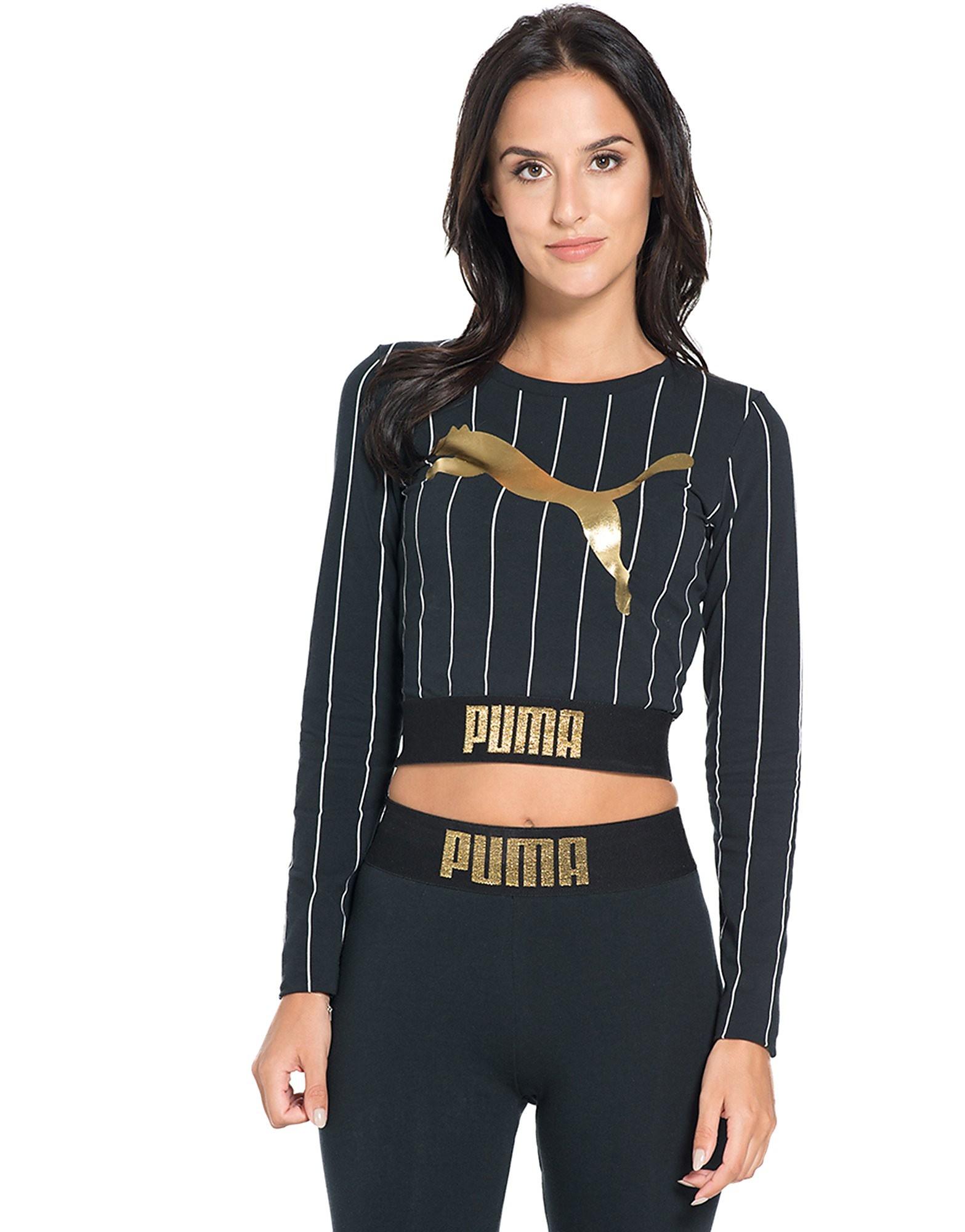 PUMA Gold Pack Stripe Cropped T-Shirt