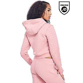 Supply & Demand Pink Crop Quilt Hoody