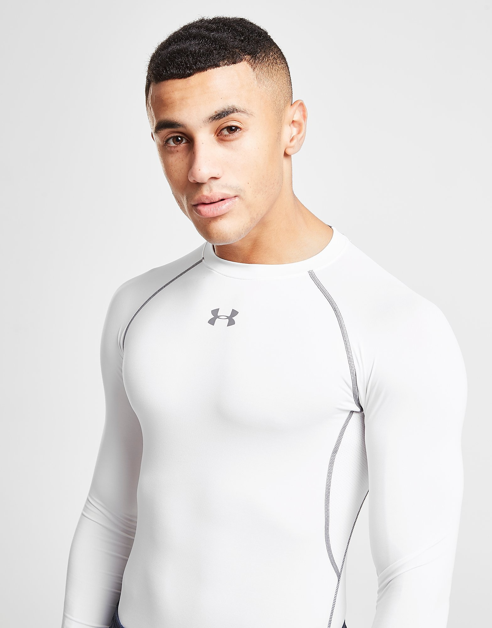 Under Armour HeatGear Long Sleeve Compression T-Shirt - Wit - Heren