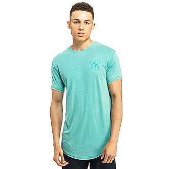 Sik Silk Burn Out Curved Hem T-Shirt