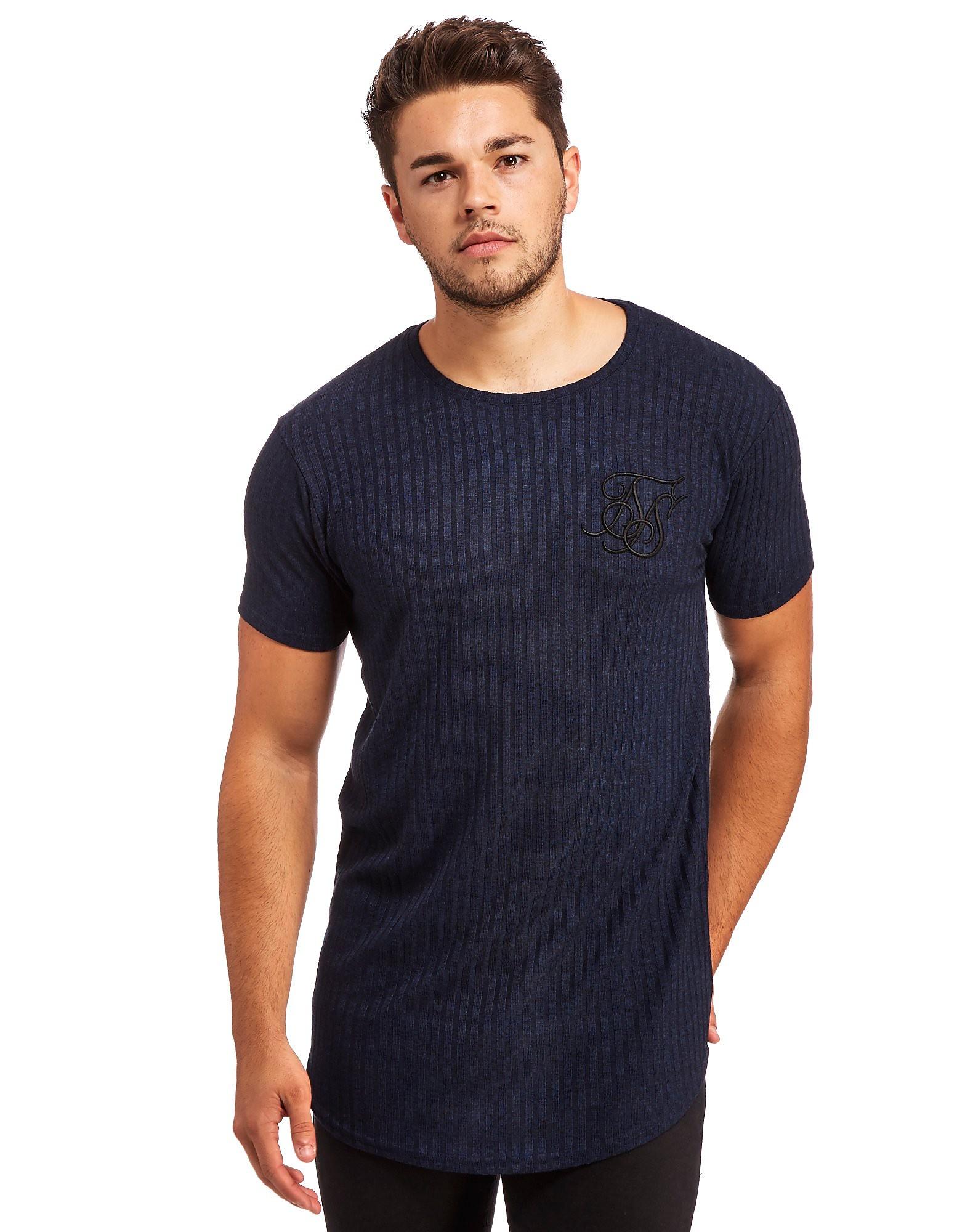 SikSilk Rib Curved Hem Knit T-Shirt