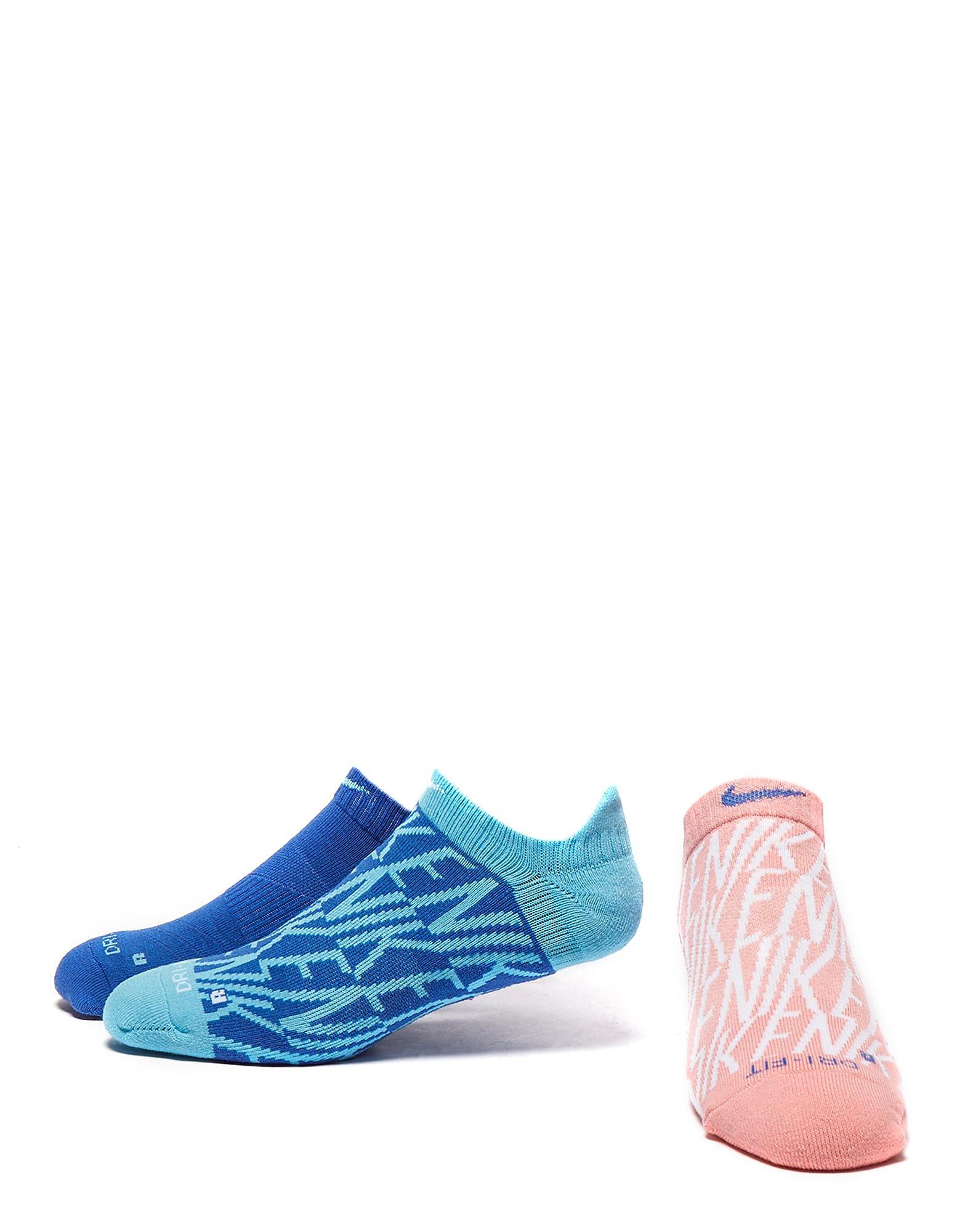 Nike 3 Pak Dri-FIT Cushion Graphic No Show Sokken Dames
