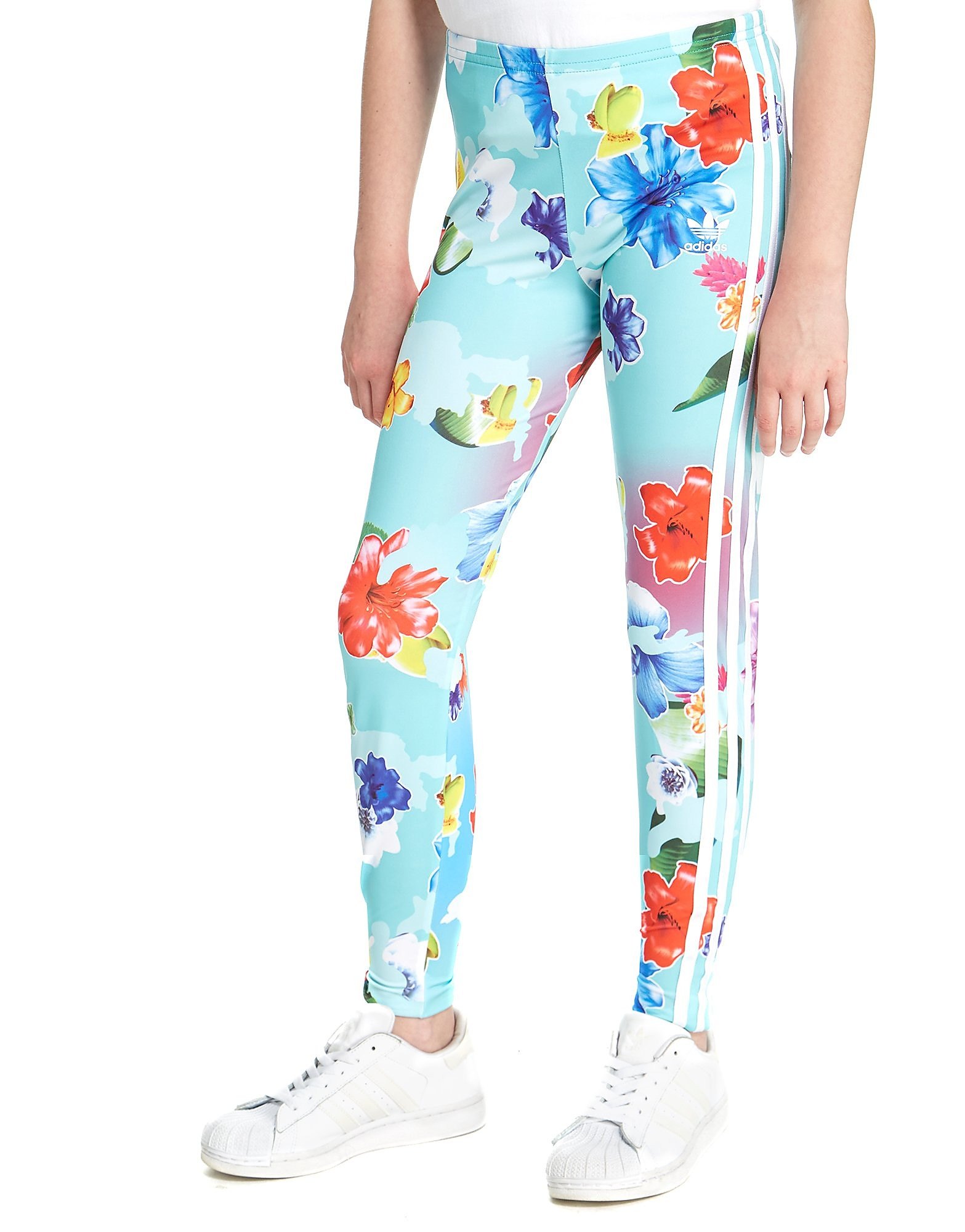 adidas Originals Girls' Floral All-Over-Print Leggings Junior