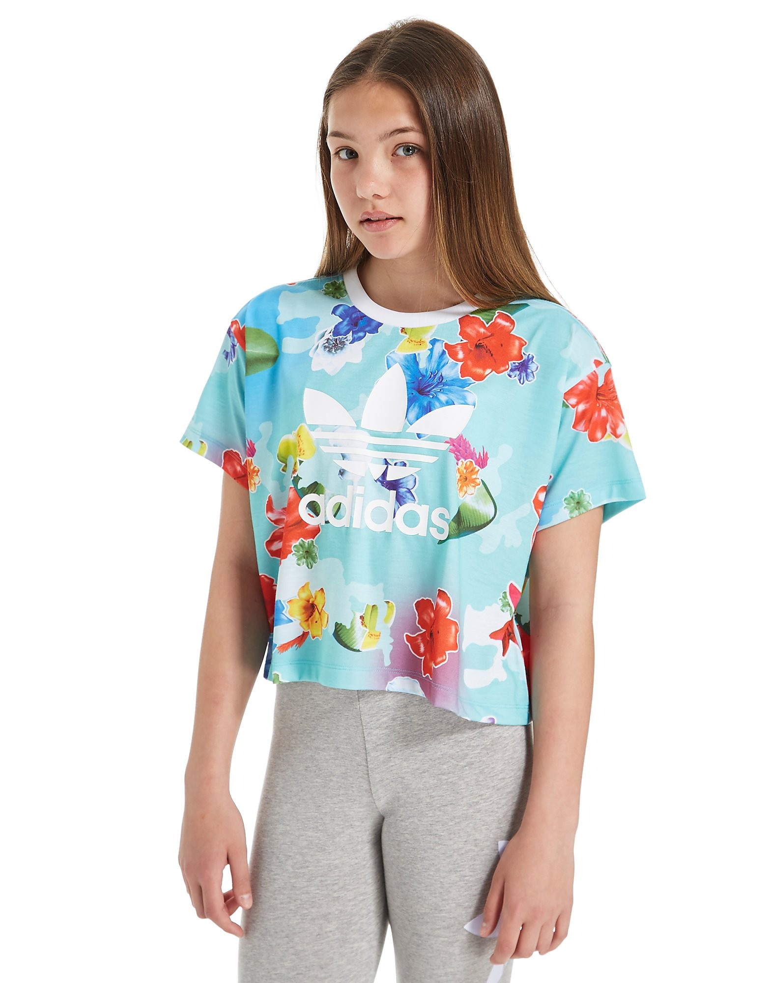 adidas Originals Girls' Floral Crop Top Junior