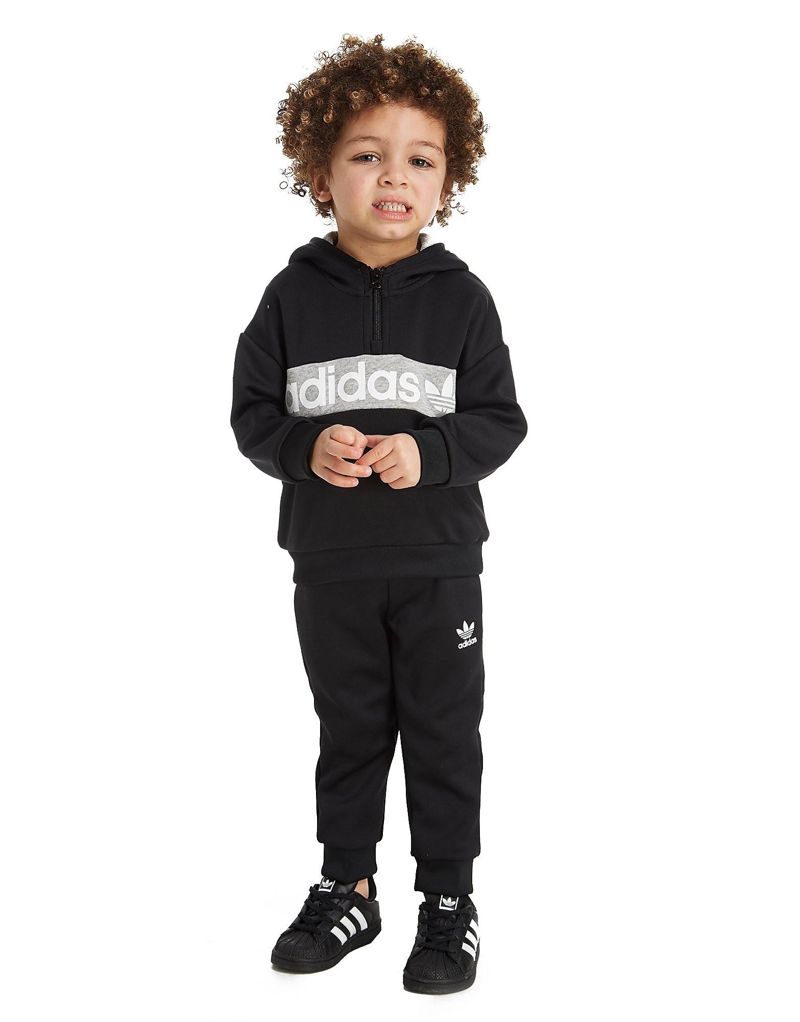 adidas Originals Tuta mezza zip con logo trilobato da bambino