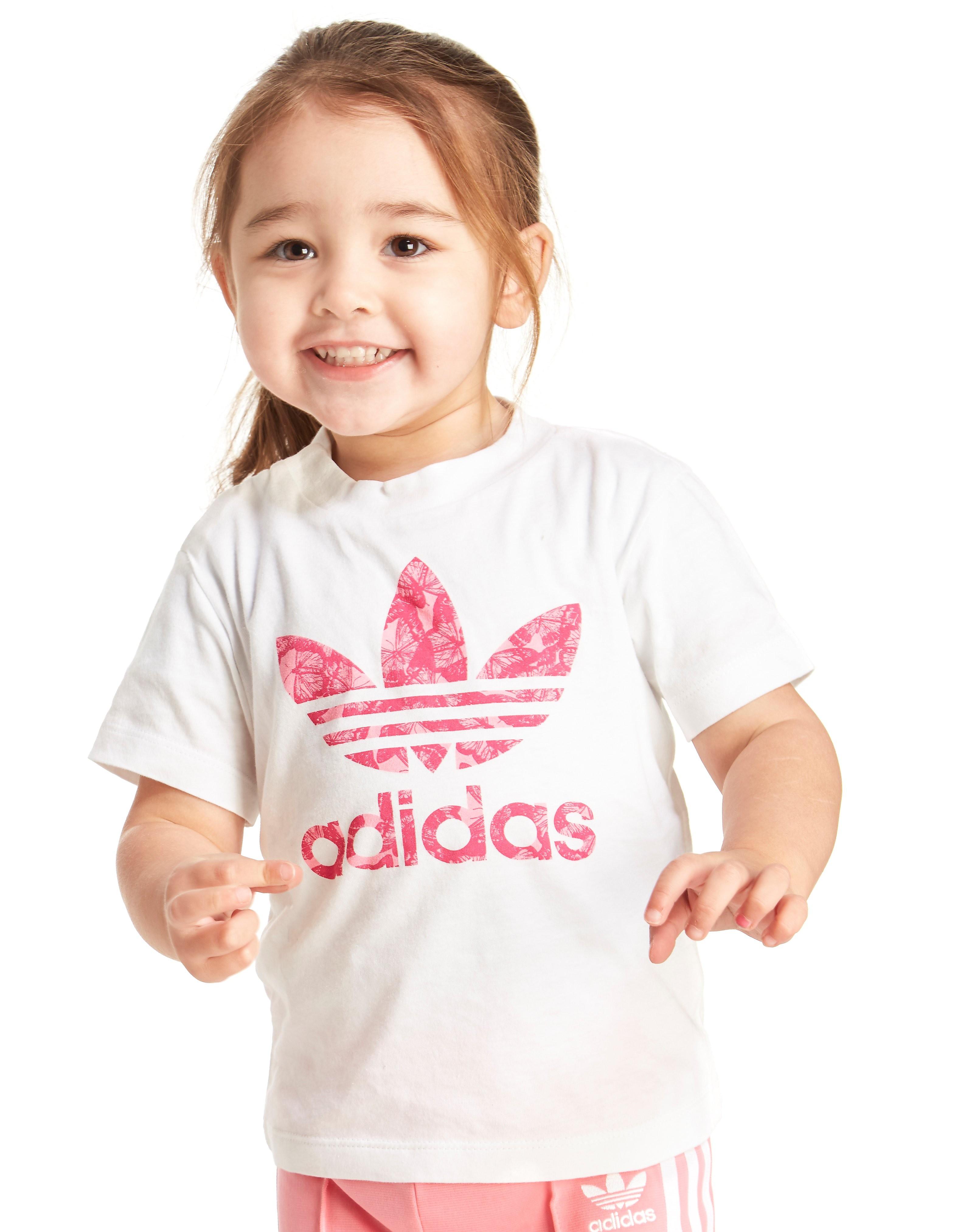 adidas Originals Mädchen-T-Shirt mit Kleeblatt-Logo im Flockdruck