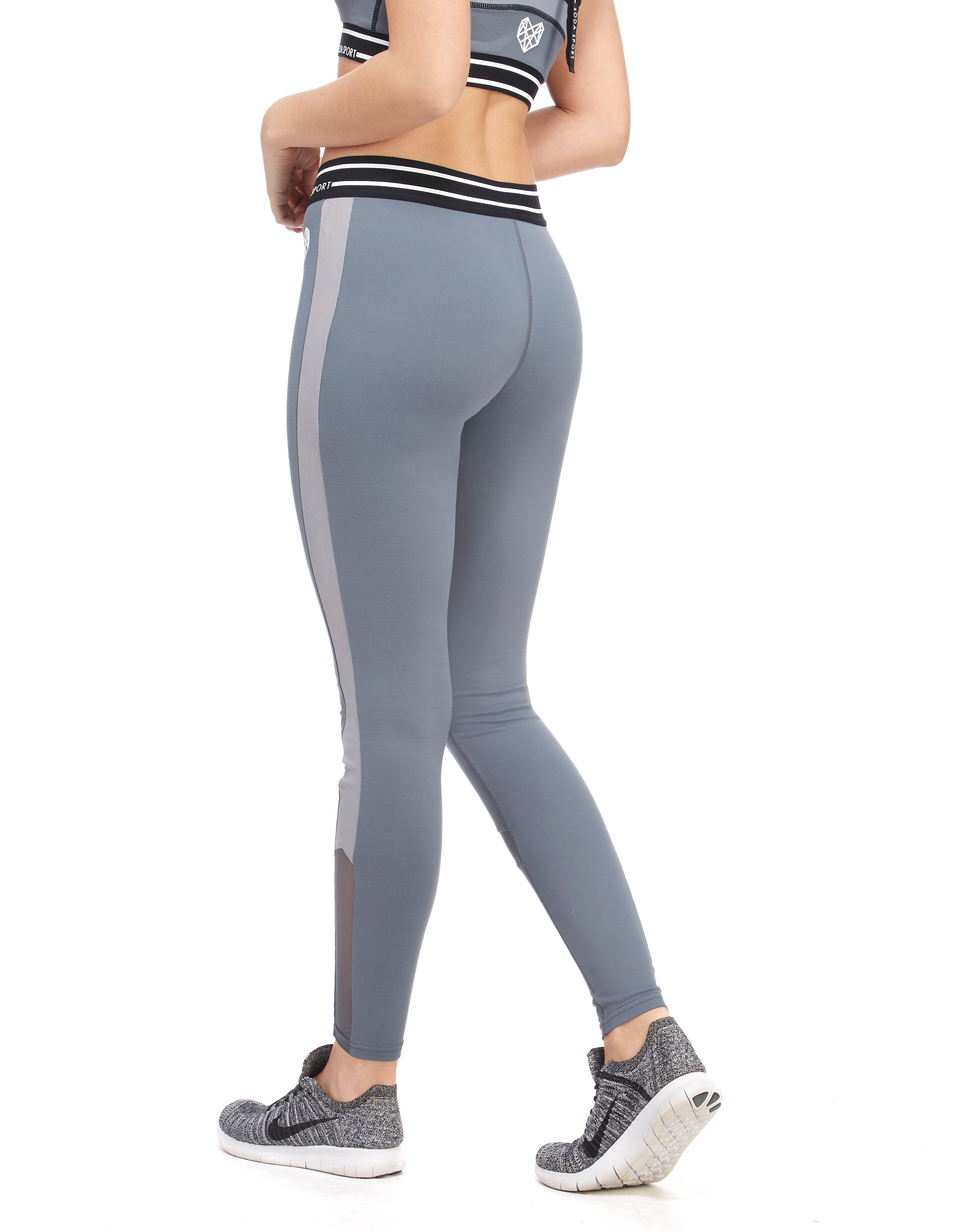 Pink Soda Sport Brushed Metallic Panel Leggings