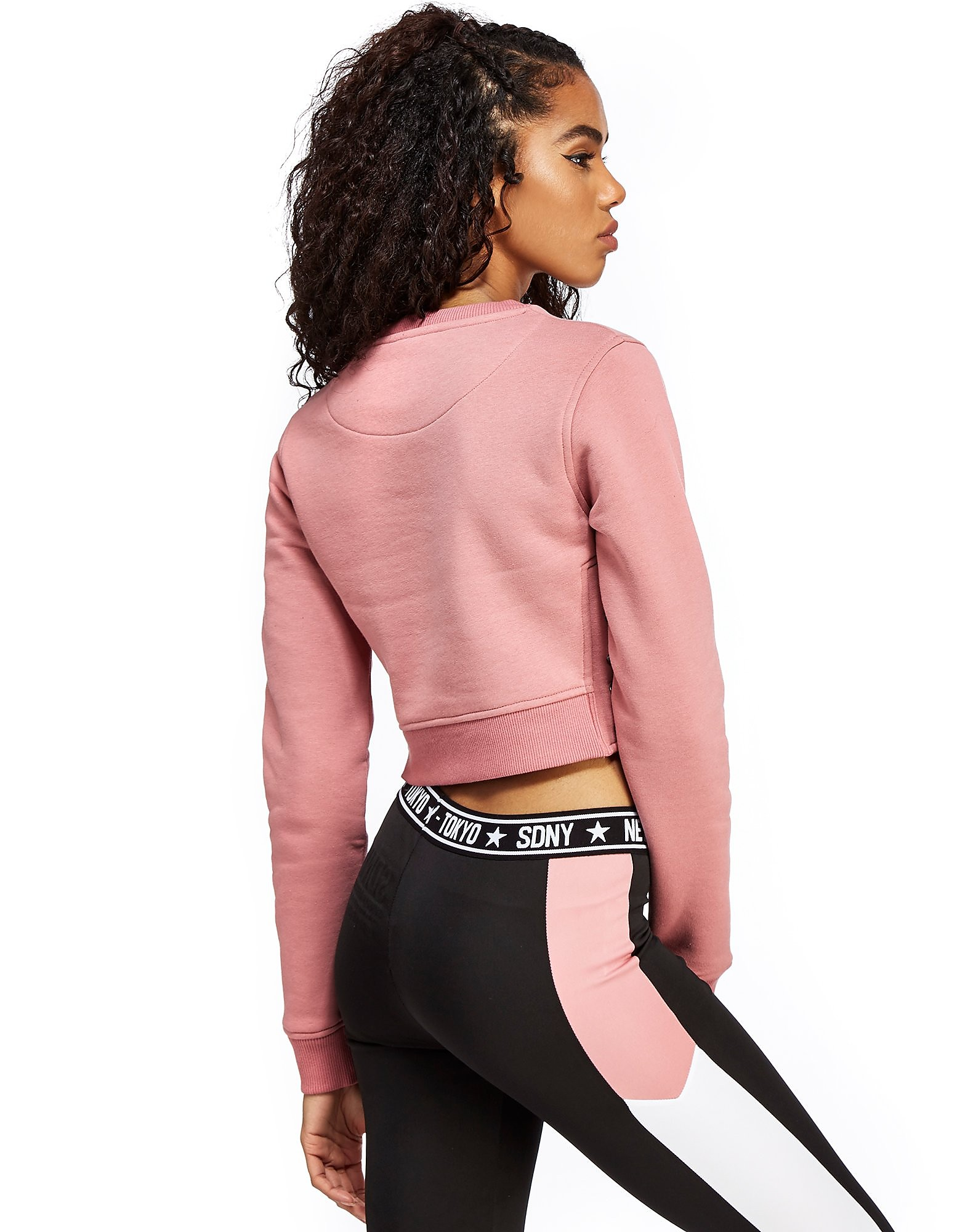 Supply & Demand Lace Crop Crew Sweatshirt
