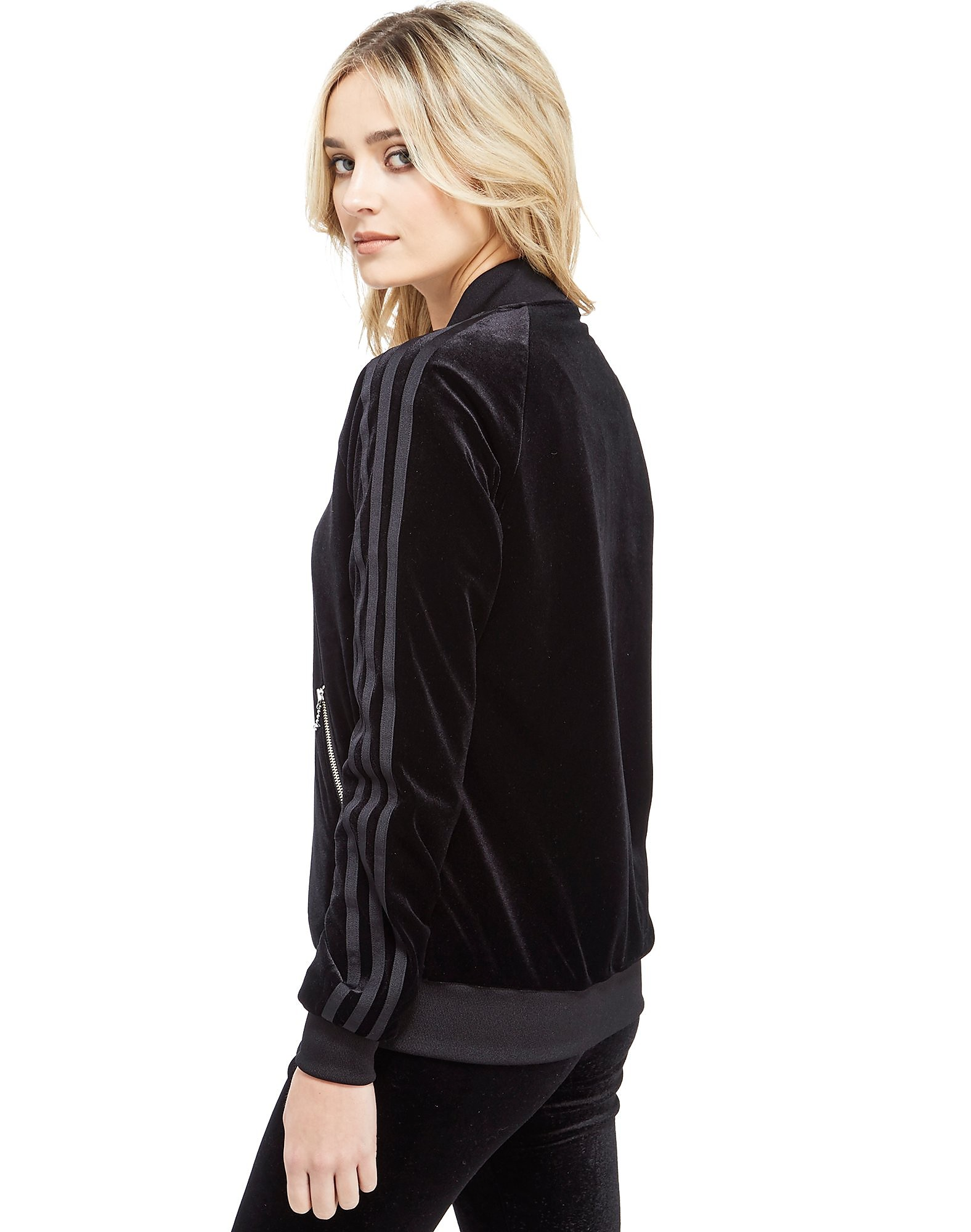 adidas Originals 3 Stripe Velvet Bomber Jacket