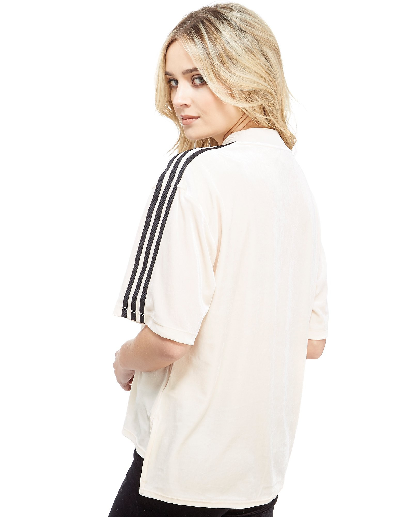 adidas Originals 3 Stripe Mock Neck Velvet T-Shirt