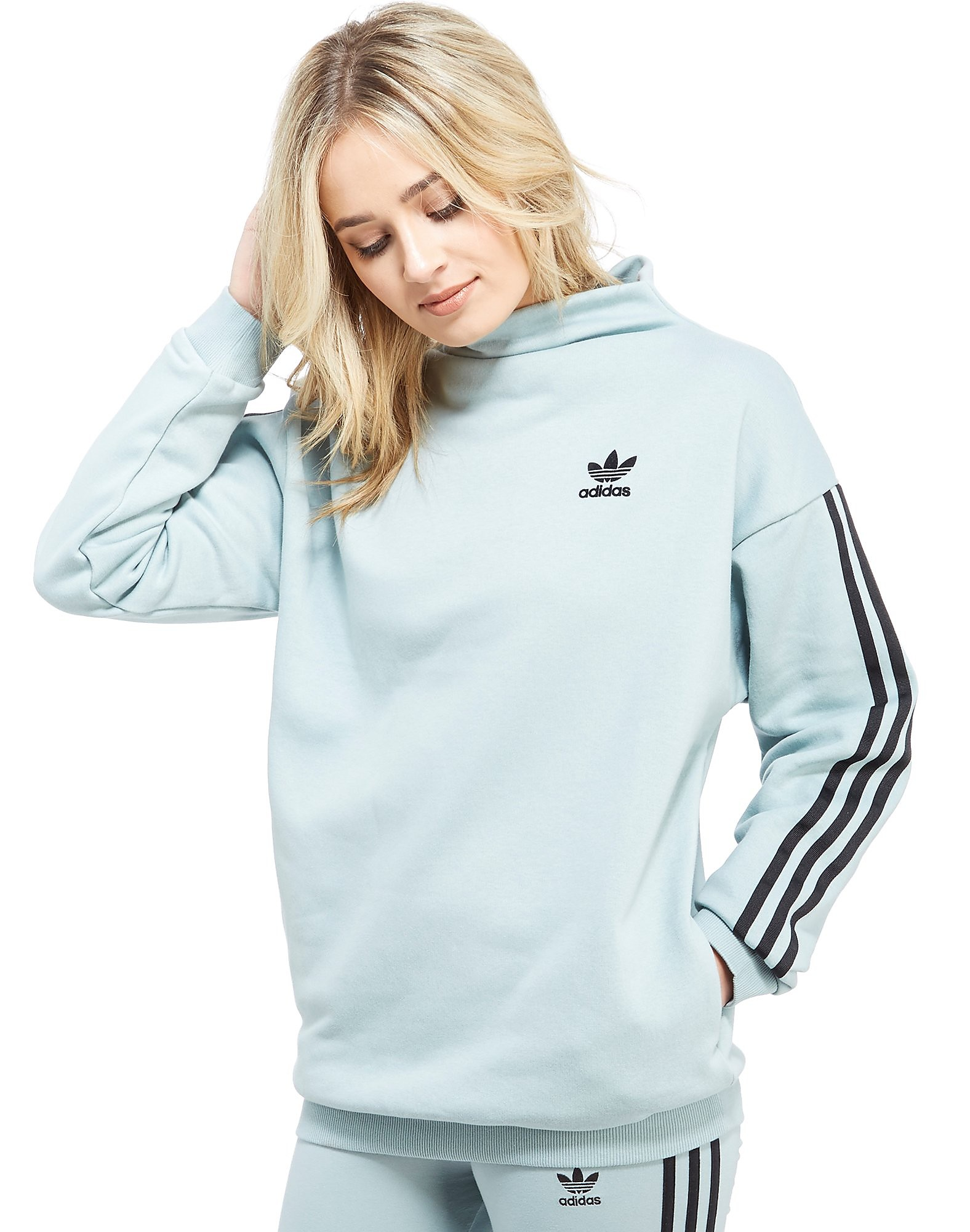 adidas Originals 3 Stripe Mock Neck Crew Sweatshirt