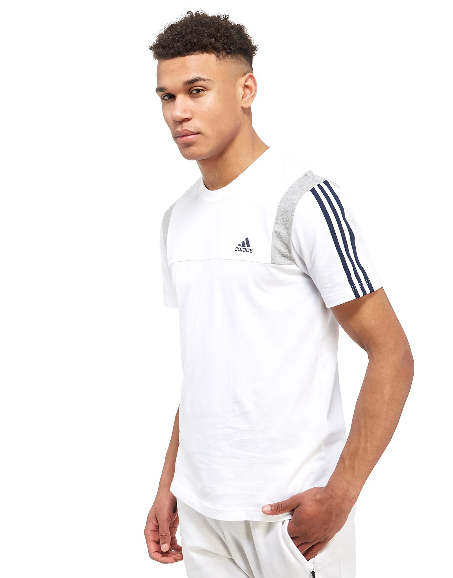 Leather gloves mens jd - Adidas 3 Stripe Essential Colour Block T Shirt Only At Jd White Grey Black