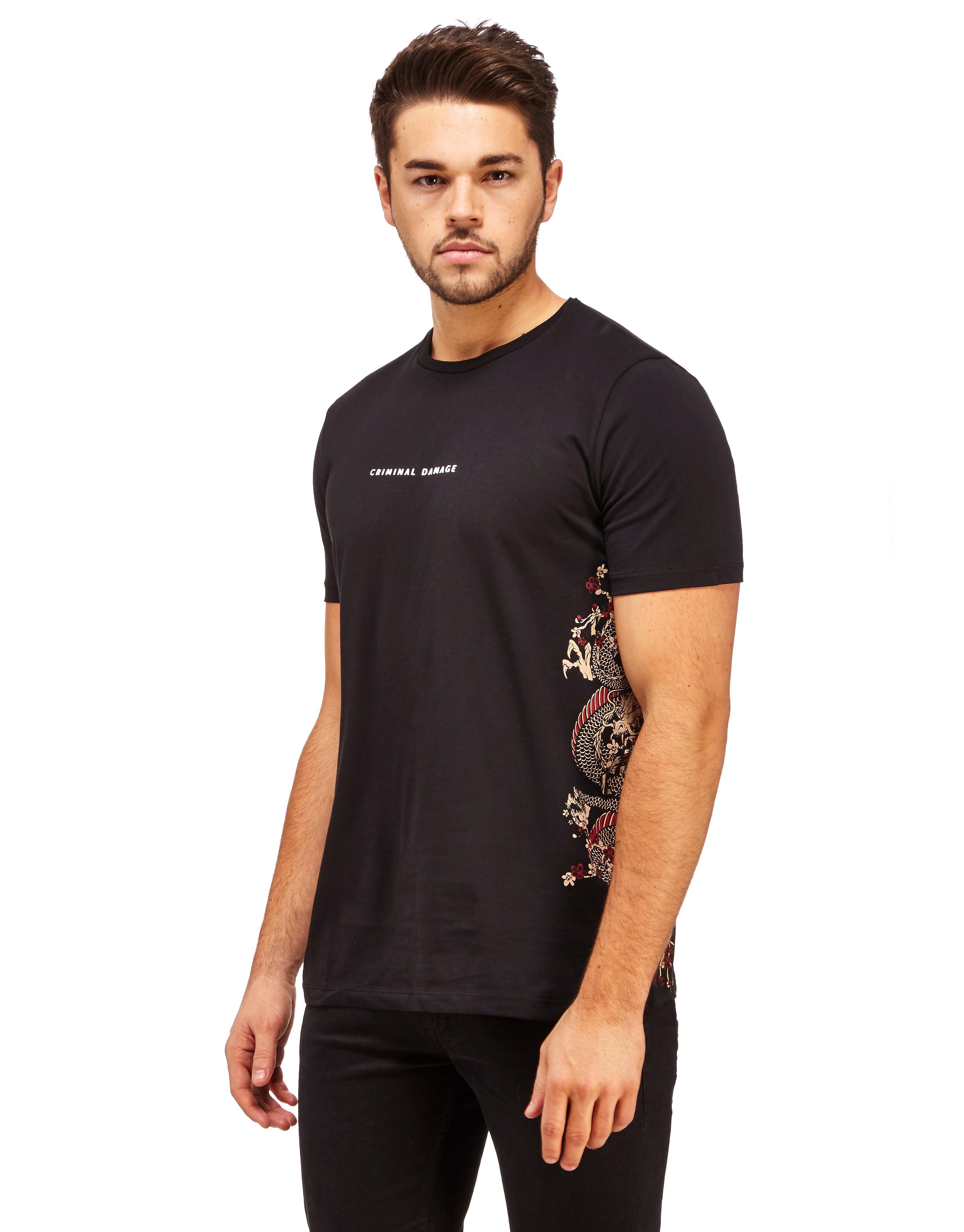Criminal Damage Fire Side Print T-Shirt