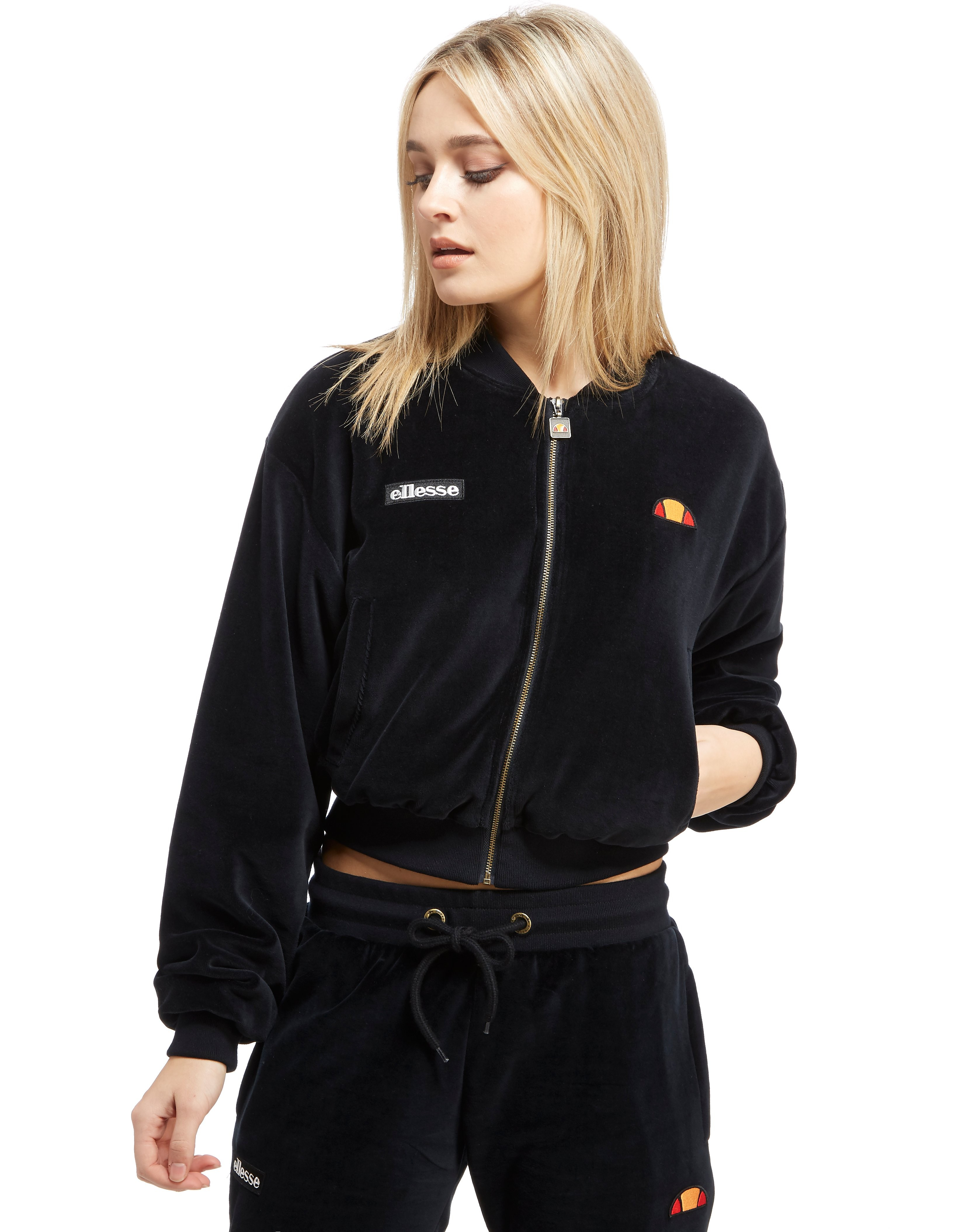 Ellesse Velour Crop Bomber Jacket