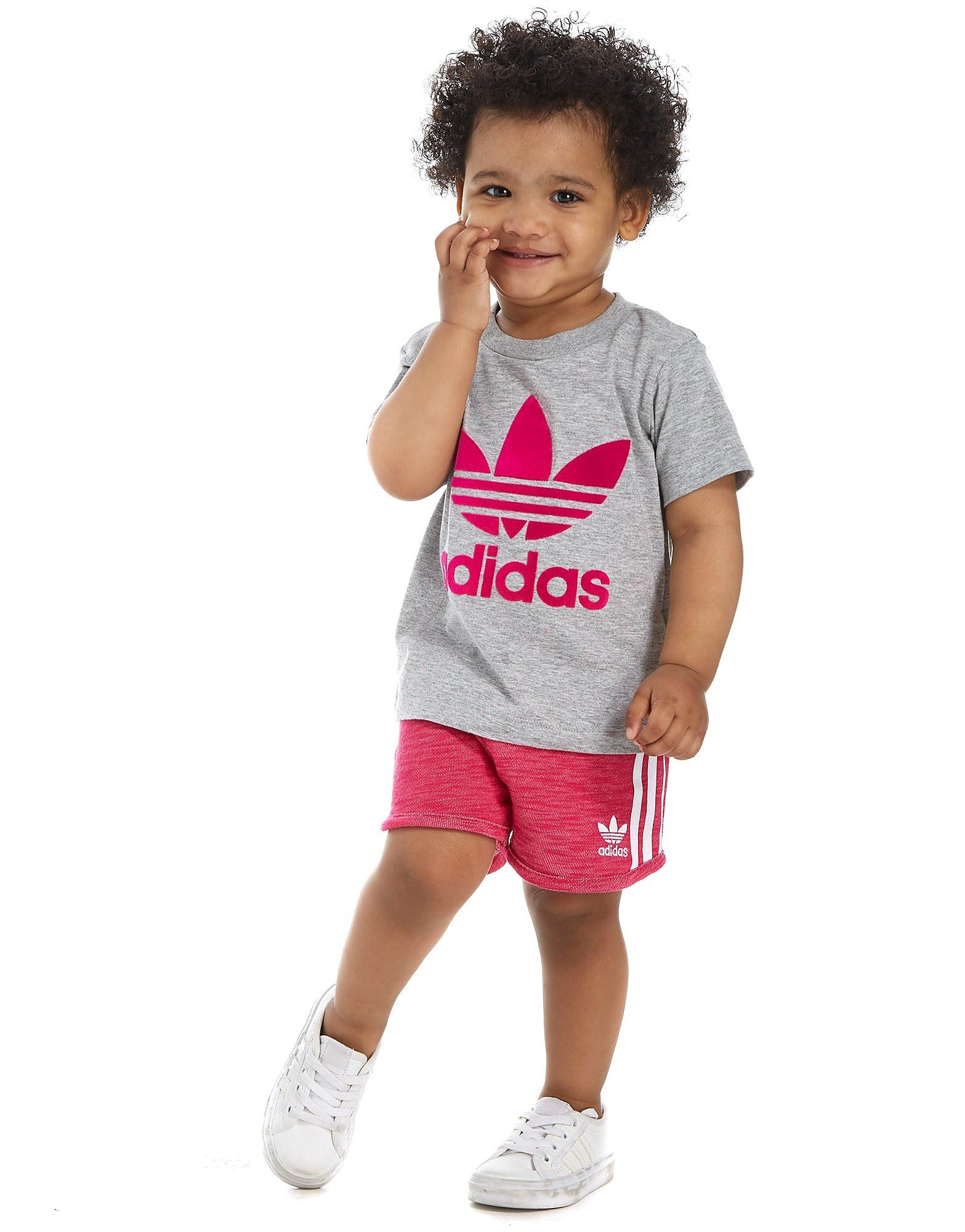adidas Originals Girls' T-Shirt and Shorts Set Infant - Grey/Pink, Grey/Pink