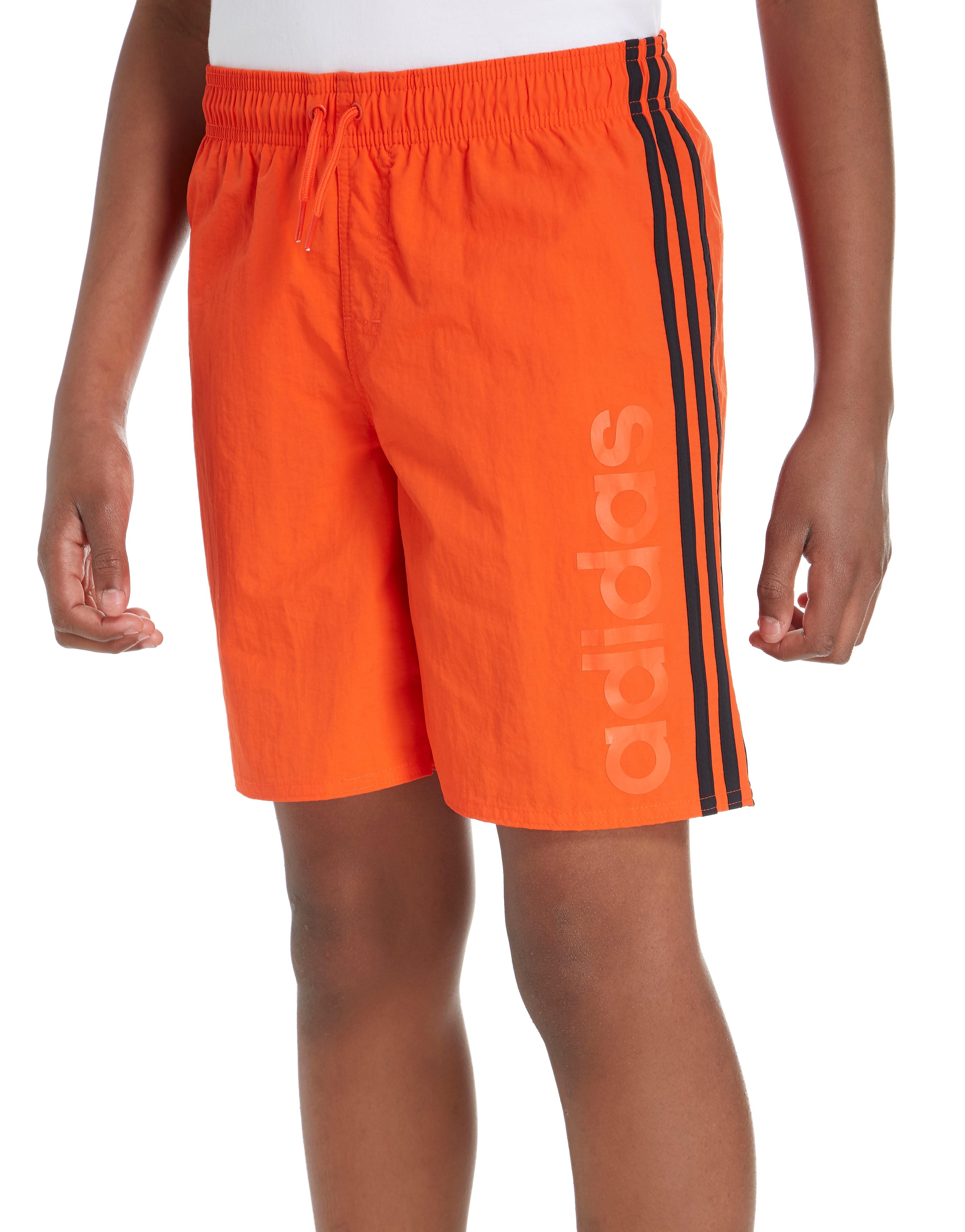 adidas Short de bain Linear - Only at JD - Orange/Black, Orange/Black
