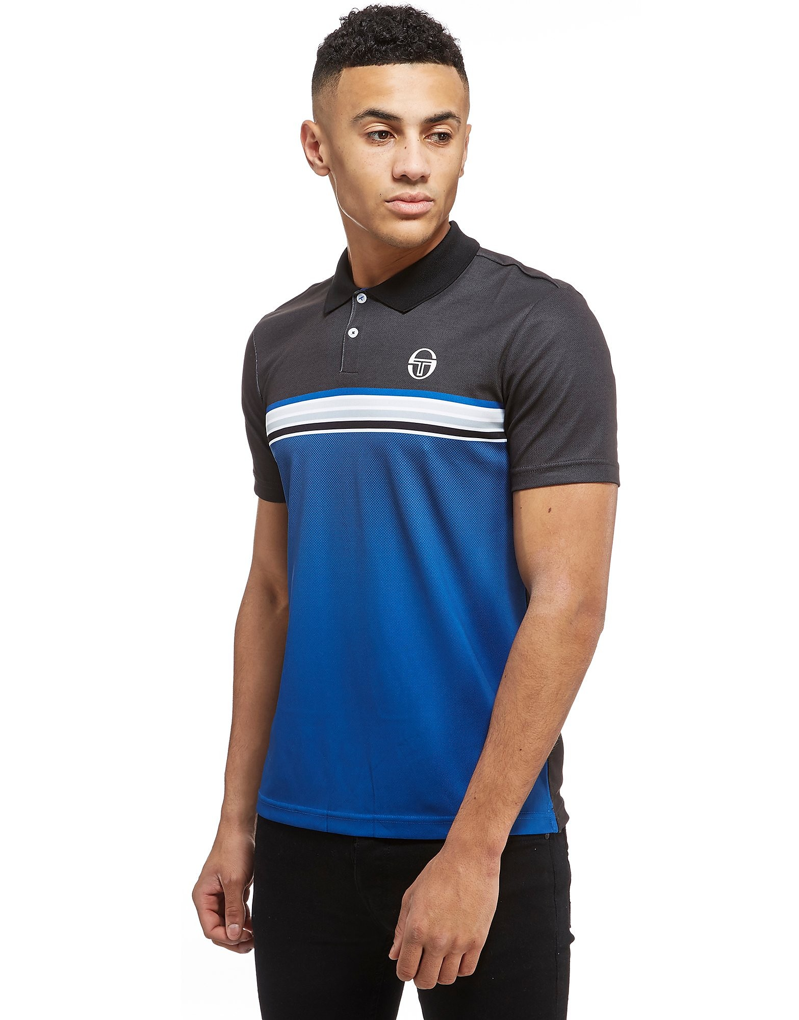 Sergio Tacchini Vinyl Stripe Short Sleeve Polo Shirt