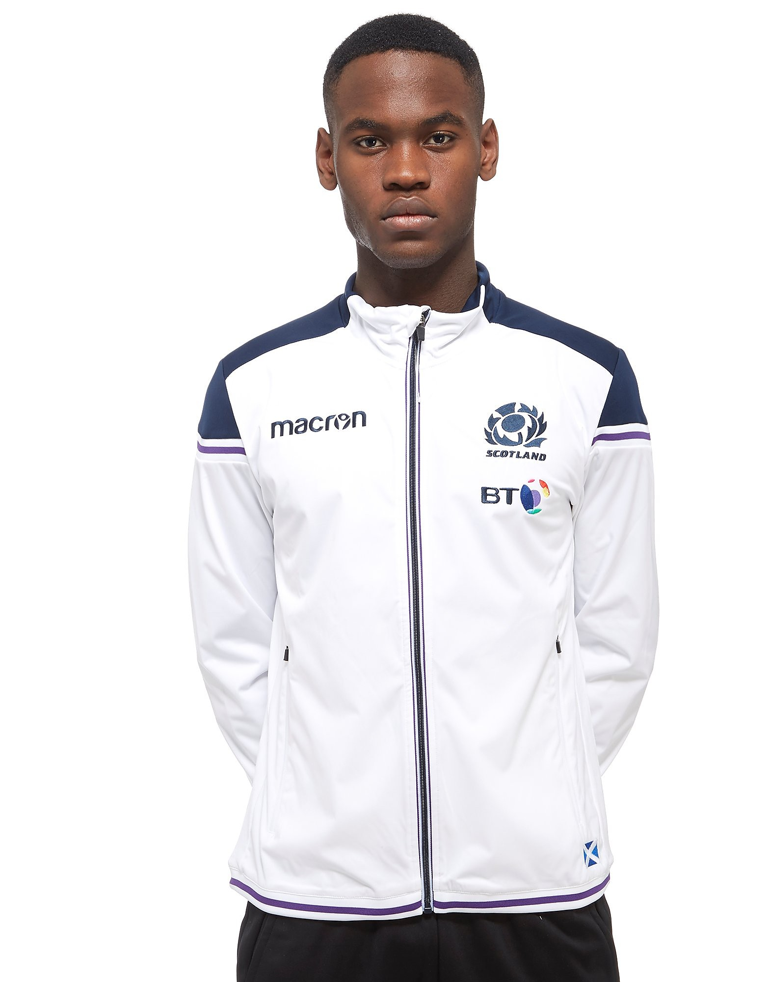Macron Scotland Rugby Union Tracksuit Top - White/Blue, White/Blue