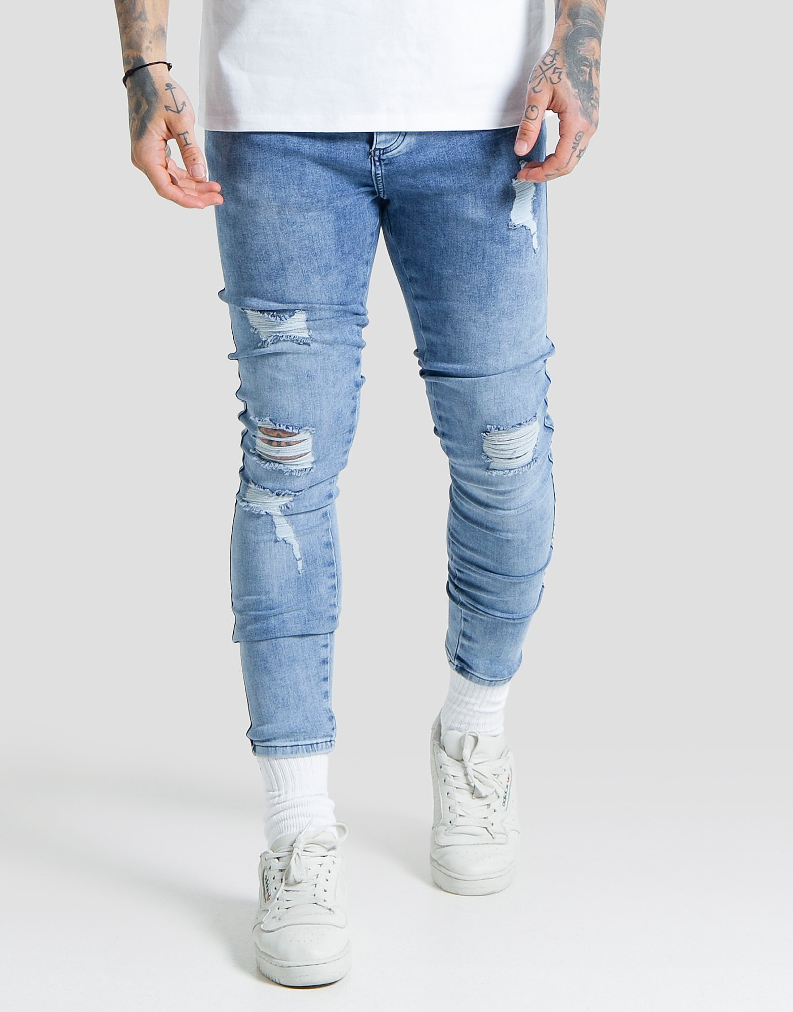 SikSilk Lowrise Distress Jeans - Blauw - Heren