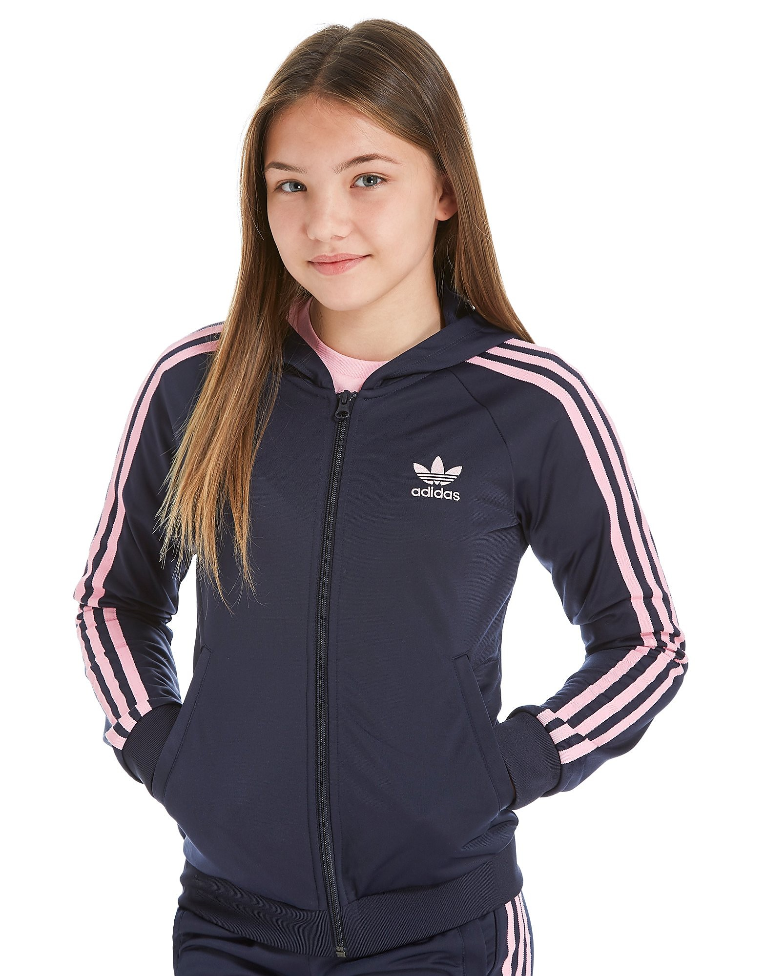 adidas Originals Girls' Poly Full Zip Hoodie Junior