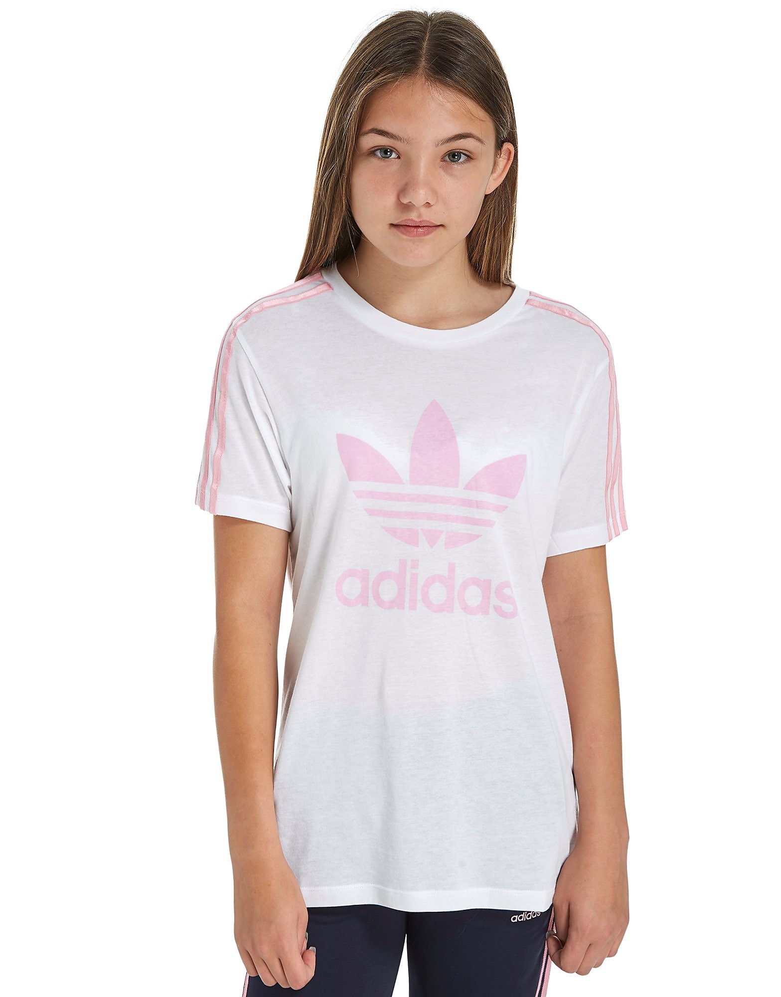 adidas Originals Girls' 3-Stripes Boyfriend T-Shirt Junior