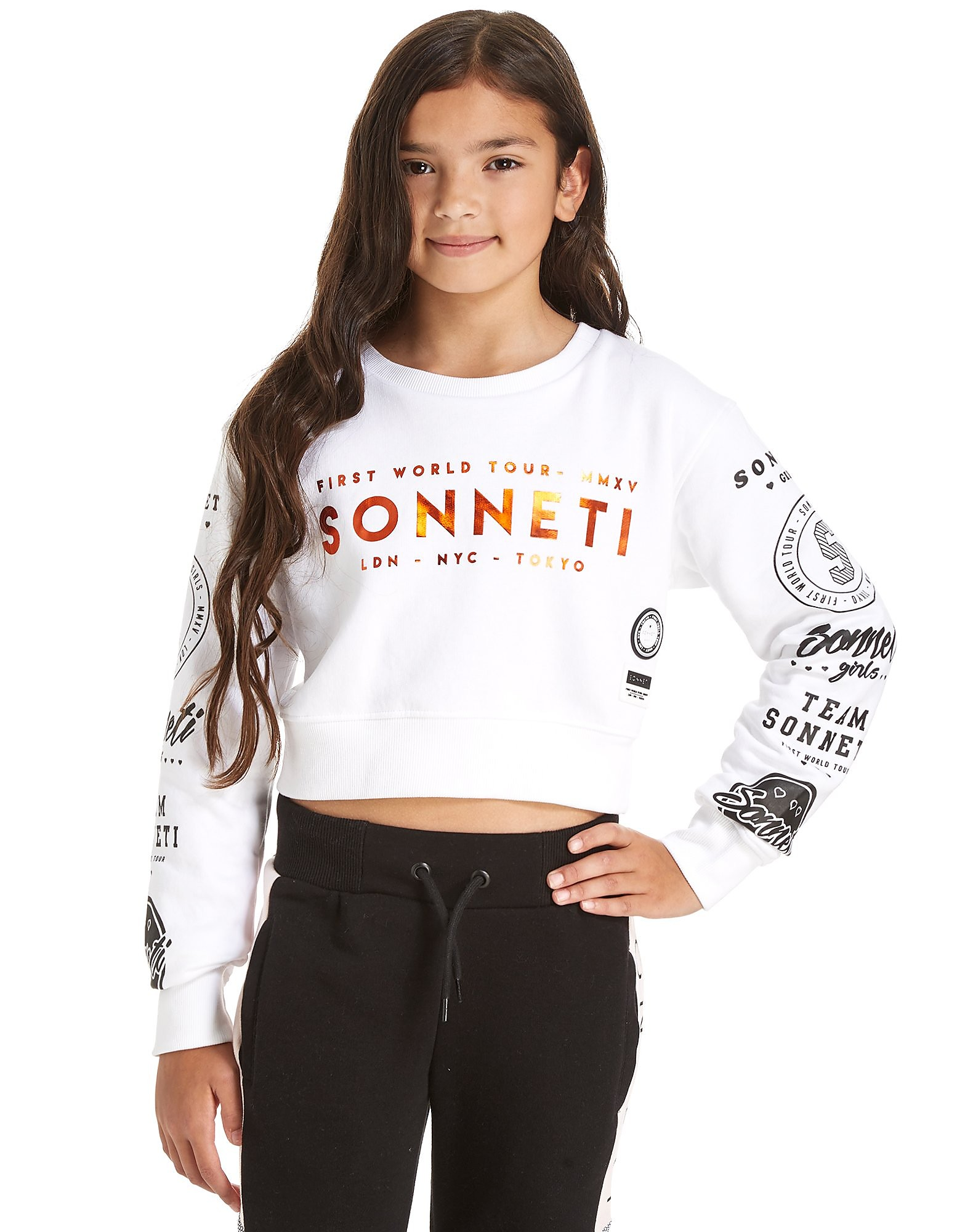 Sonneti Girls' Power Cropped Crew Sweatshirt Junior