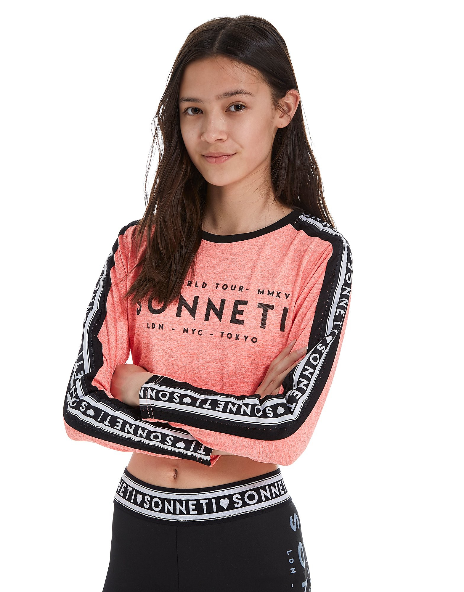 Sonneti Girls' Taper Mesh Crop T-Shirt Junior