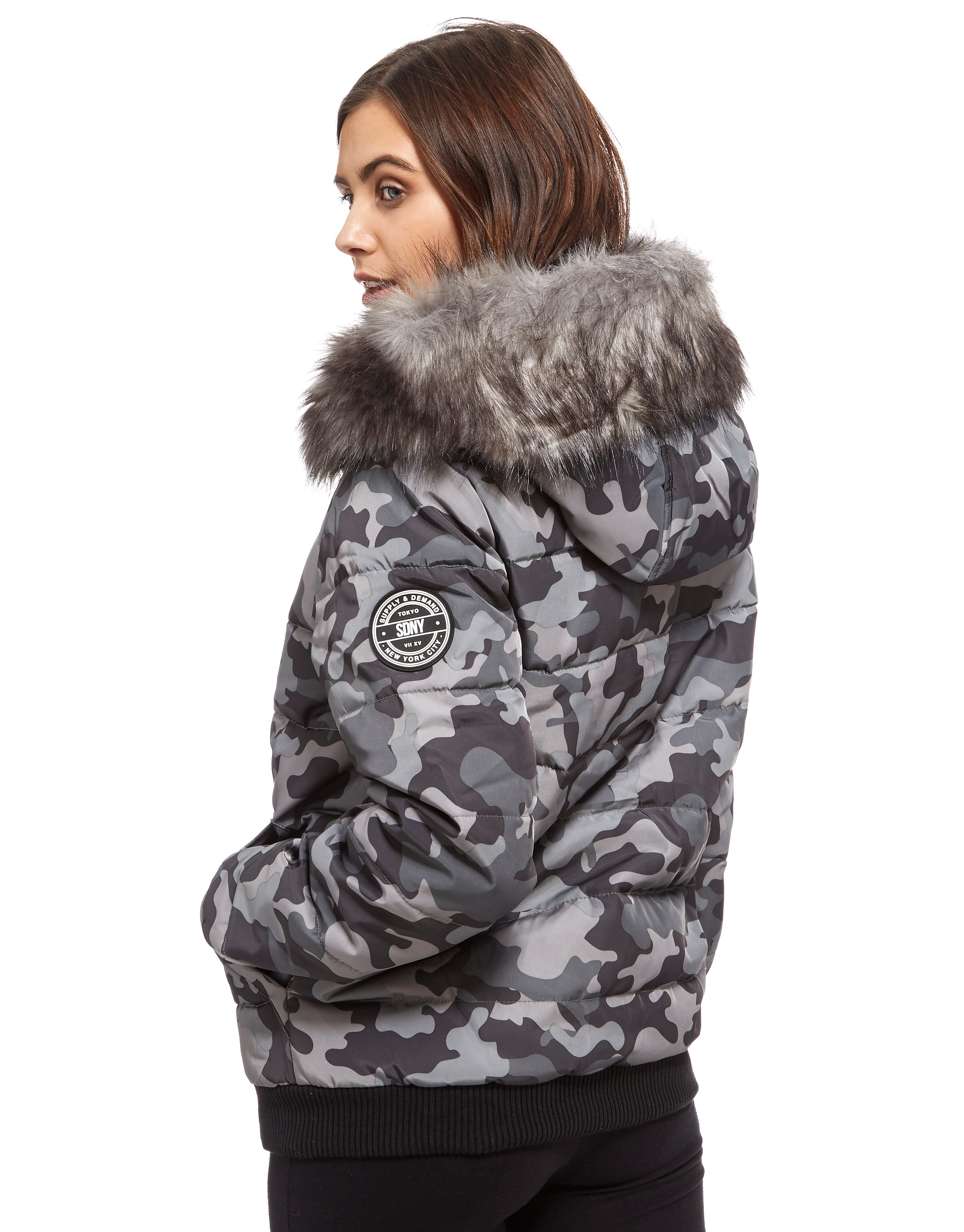 Supply & Demand Camo Puffa Jacket