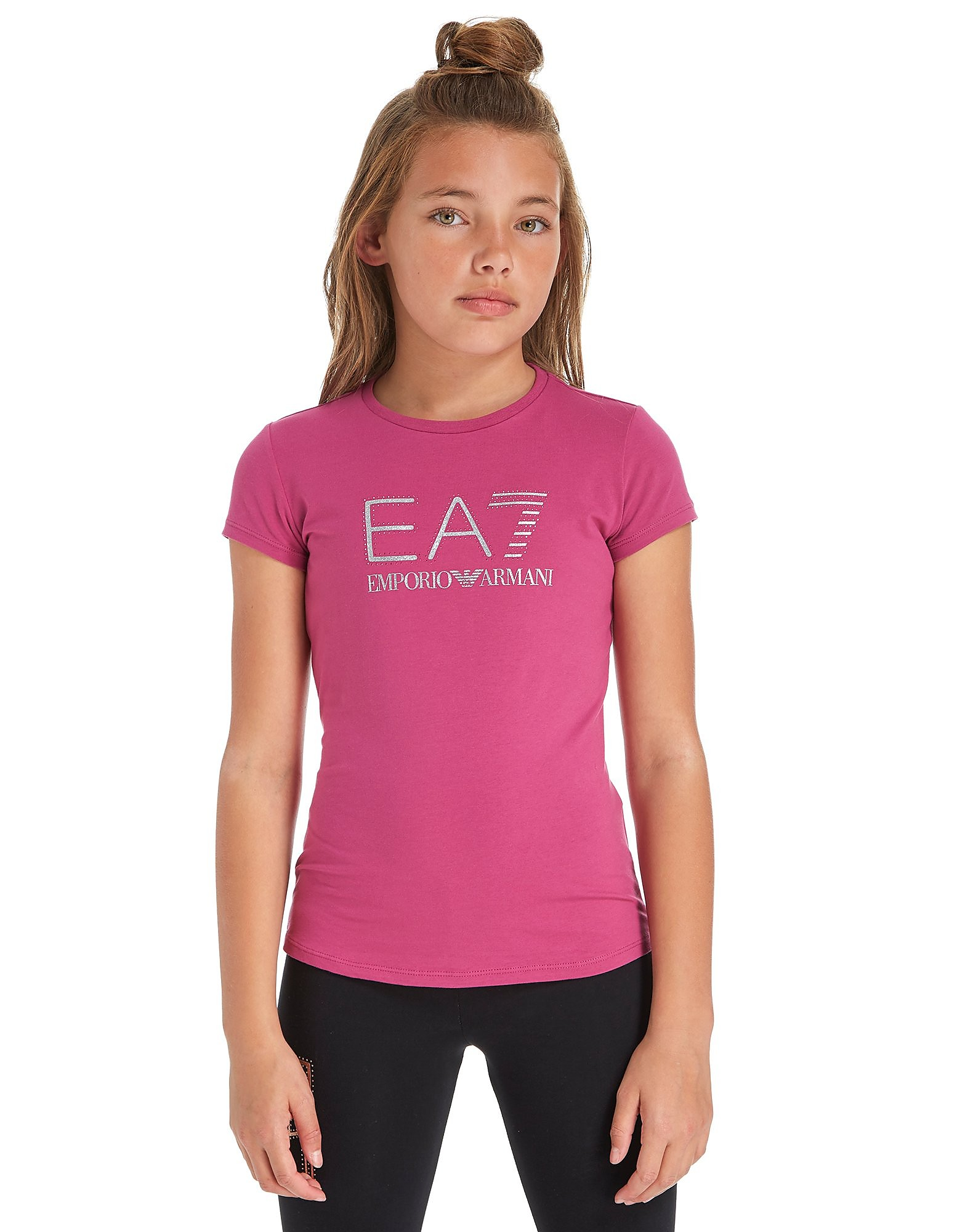 Emporio Armani EA7 Girls' Studded Glitter T-Shirt Junior
