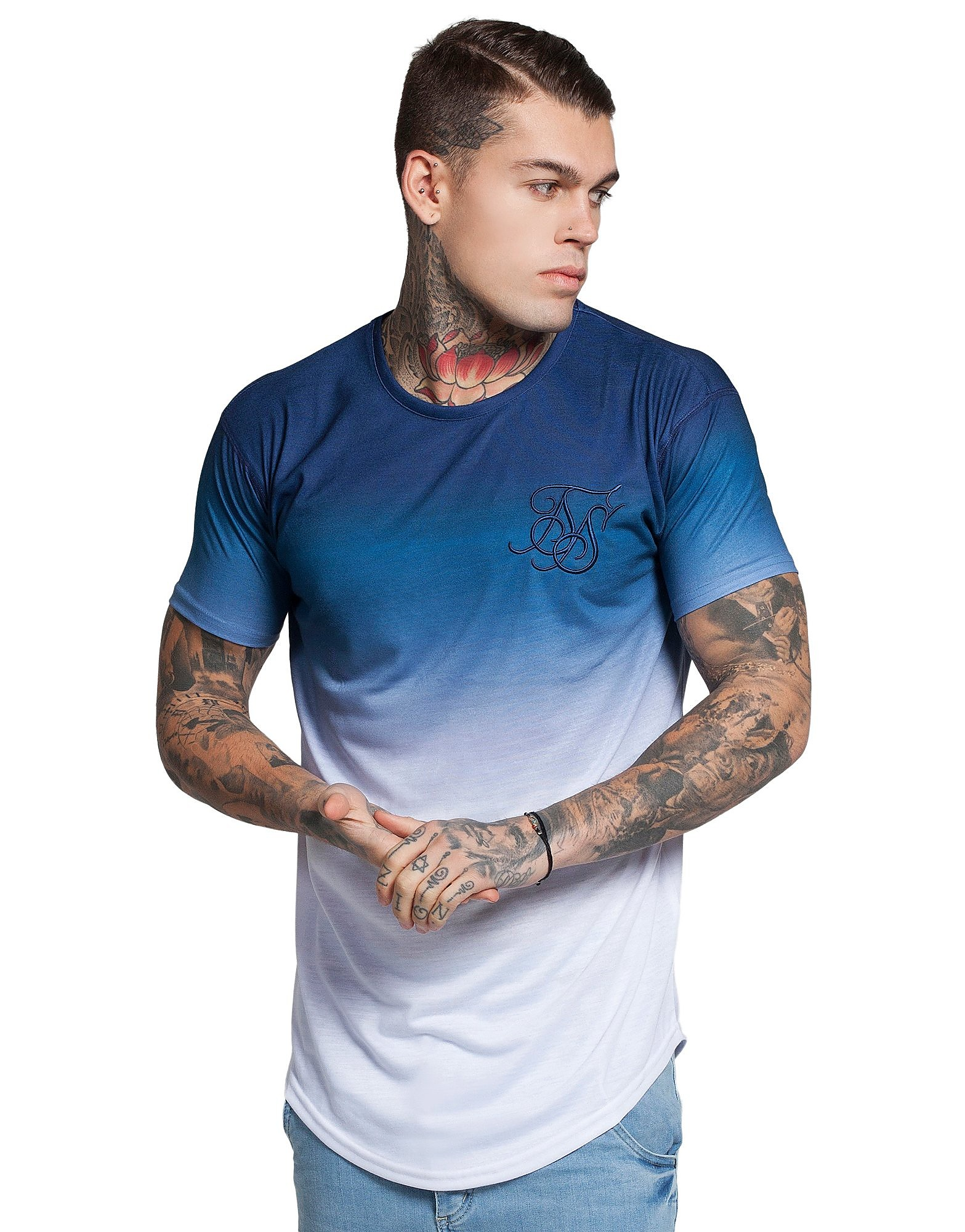 SikSilk Curved Hem Fade T-Shirt
