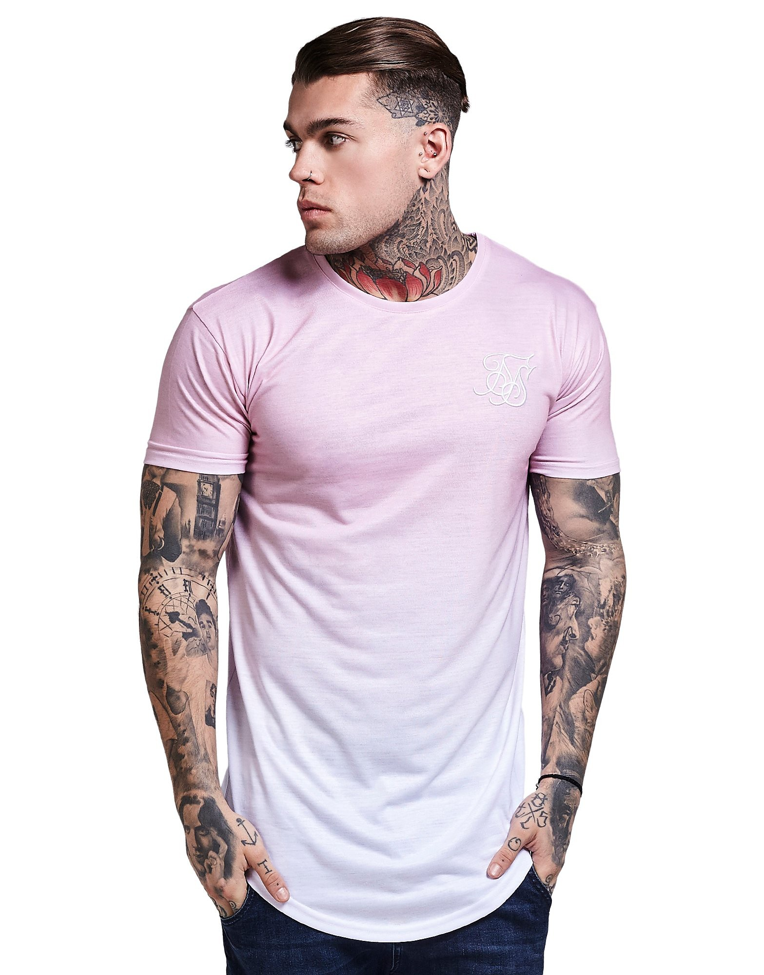 SikSilk Curved Hem Fade T-Shirt