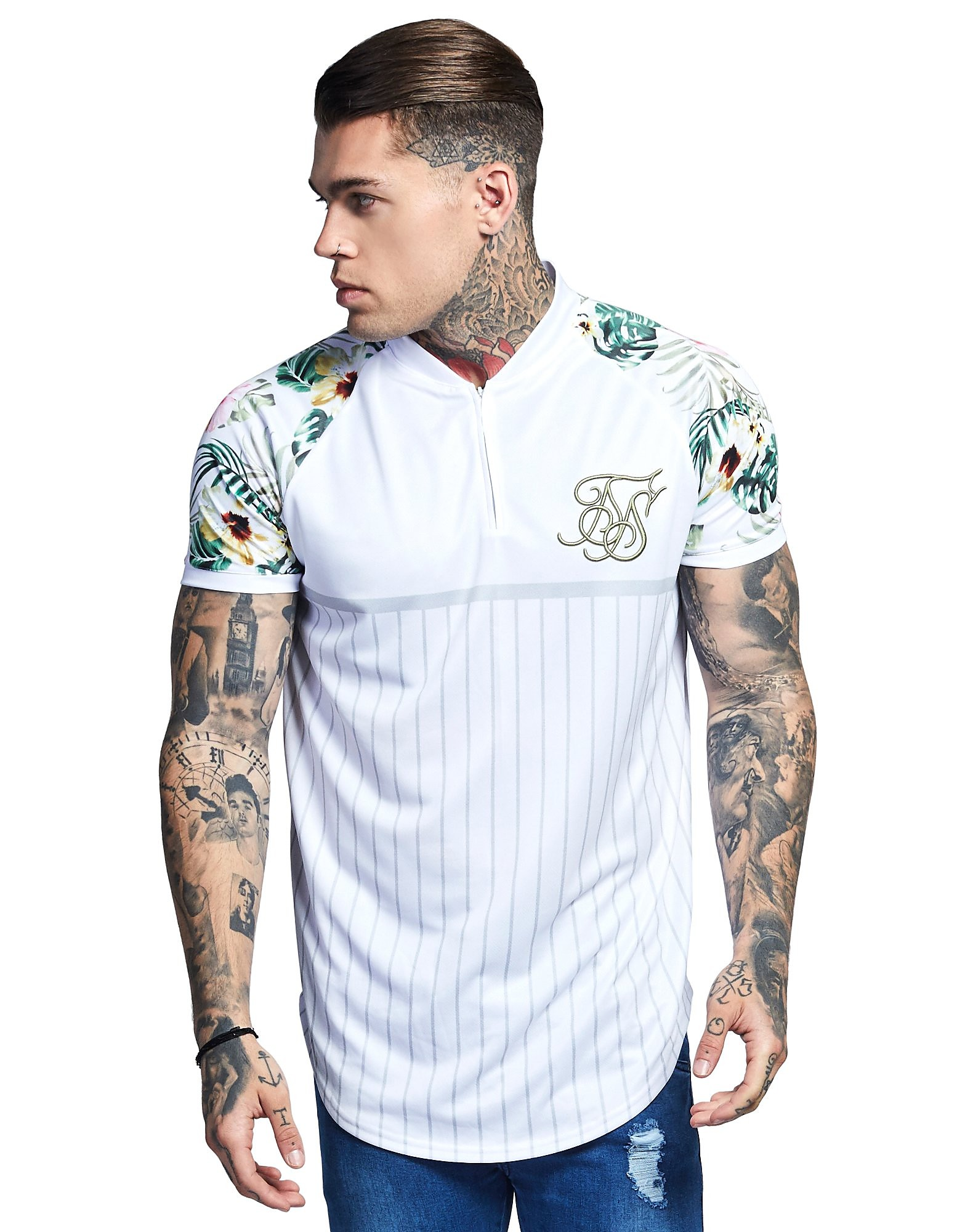 SikSilk Zip Neck Floral Sleeve T-Shirt
