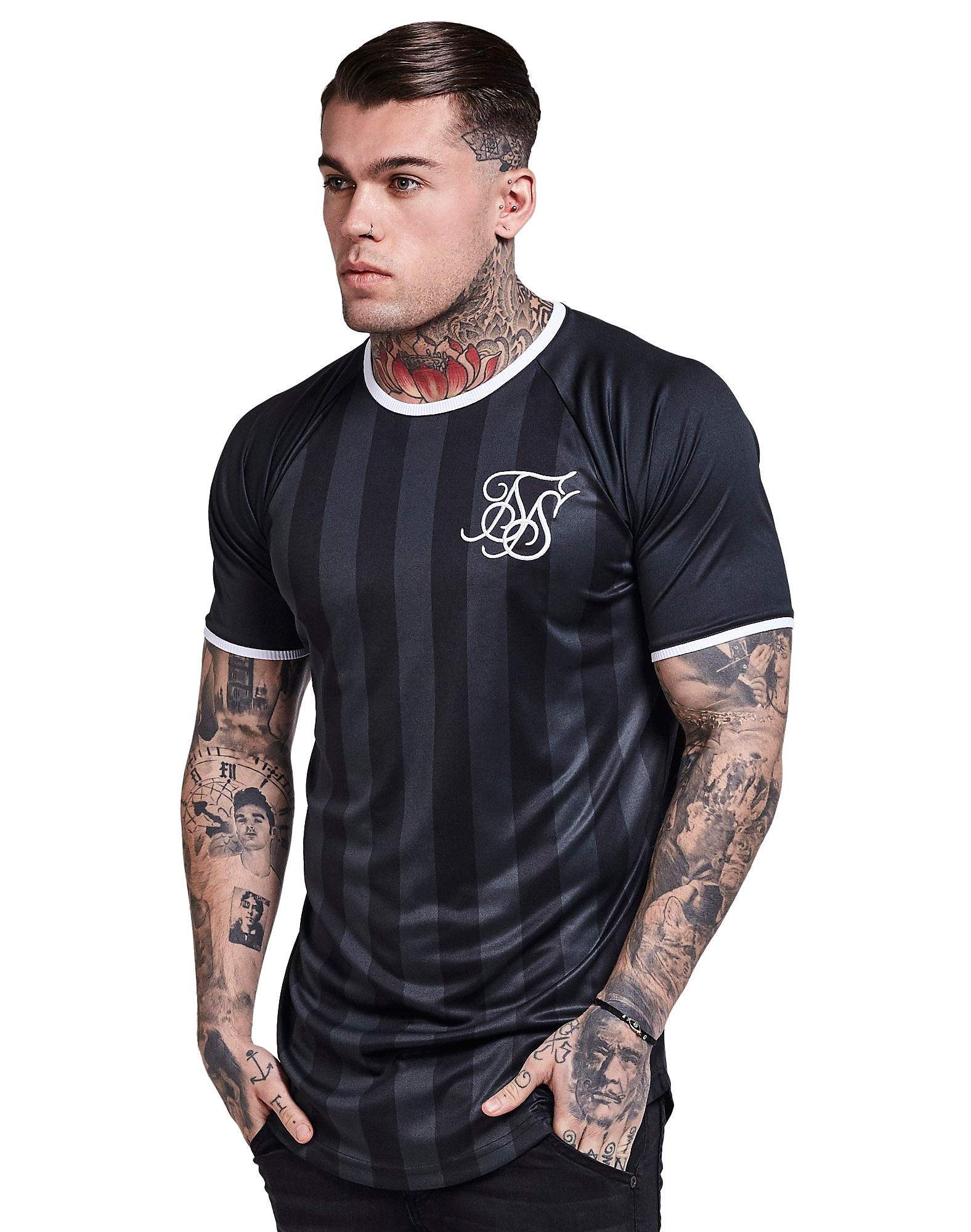 SikSilk Retro Football Stripe T-Shirt
