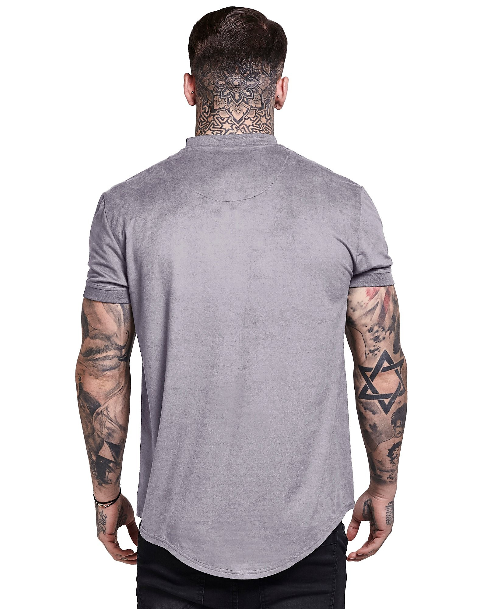 SikSilk Suede Curved Hem T-Shirt
