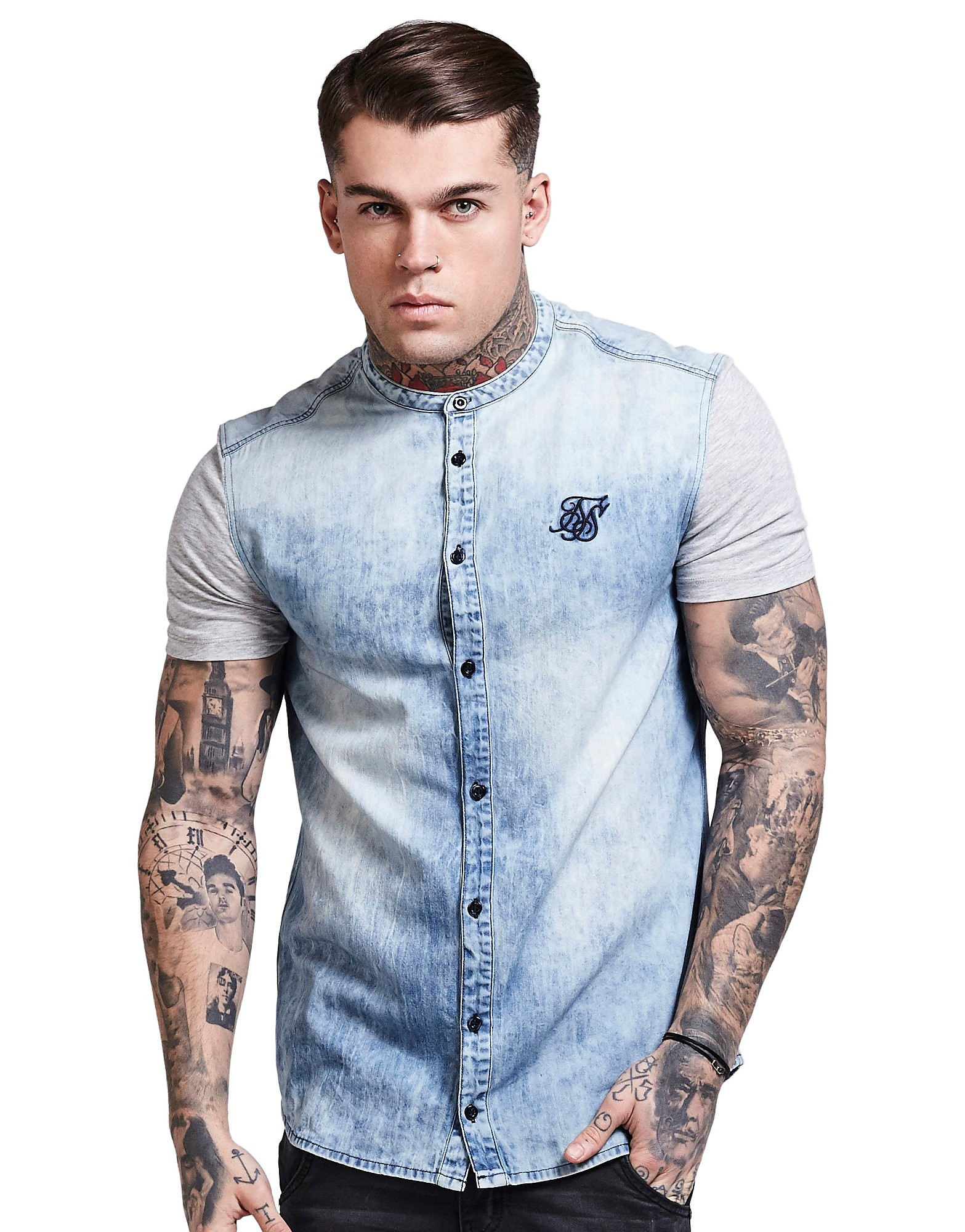 SikSilk Short Sleeve Denim Shirts