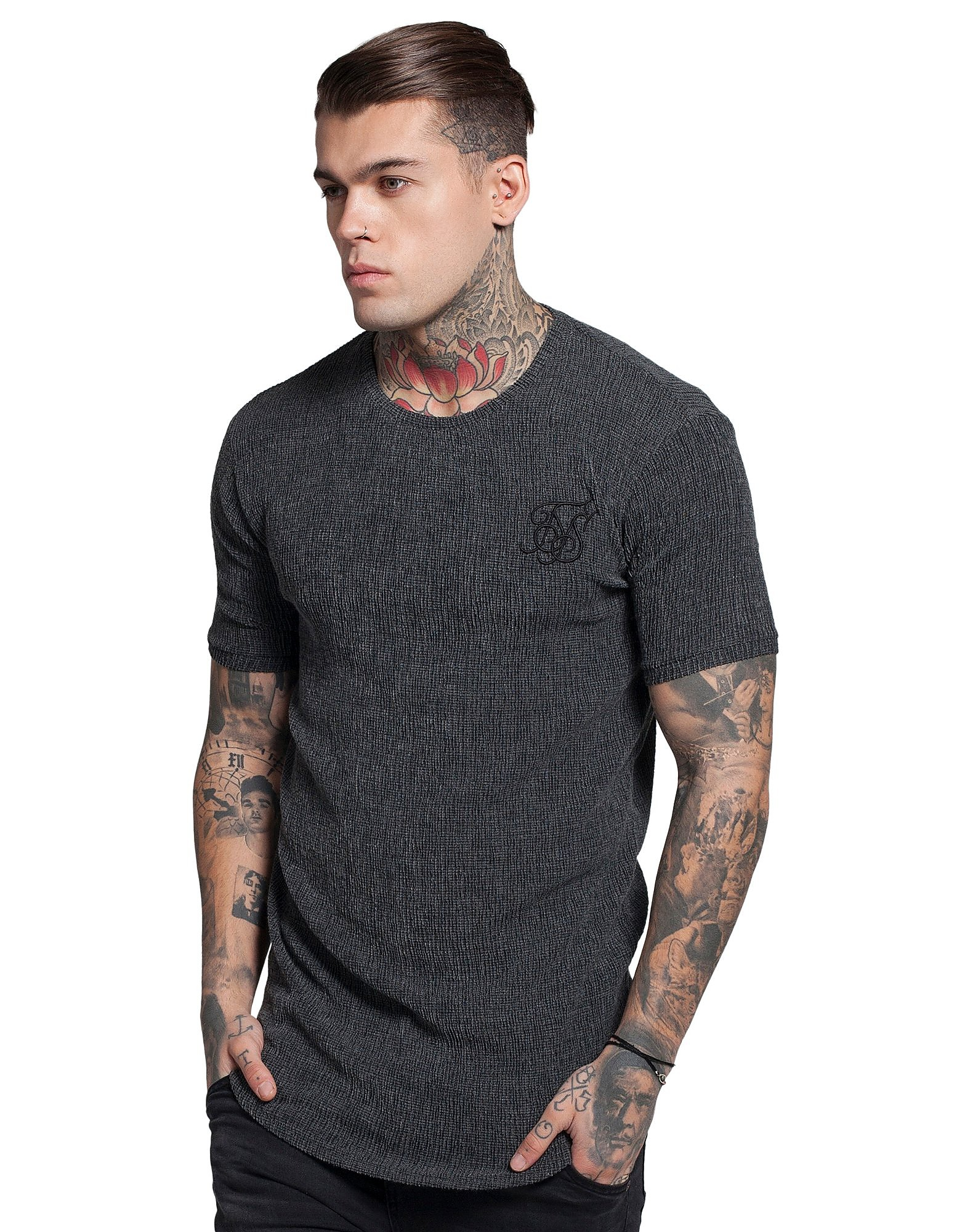 SikSilk Ripple Curved Hem T-Shirt