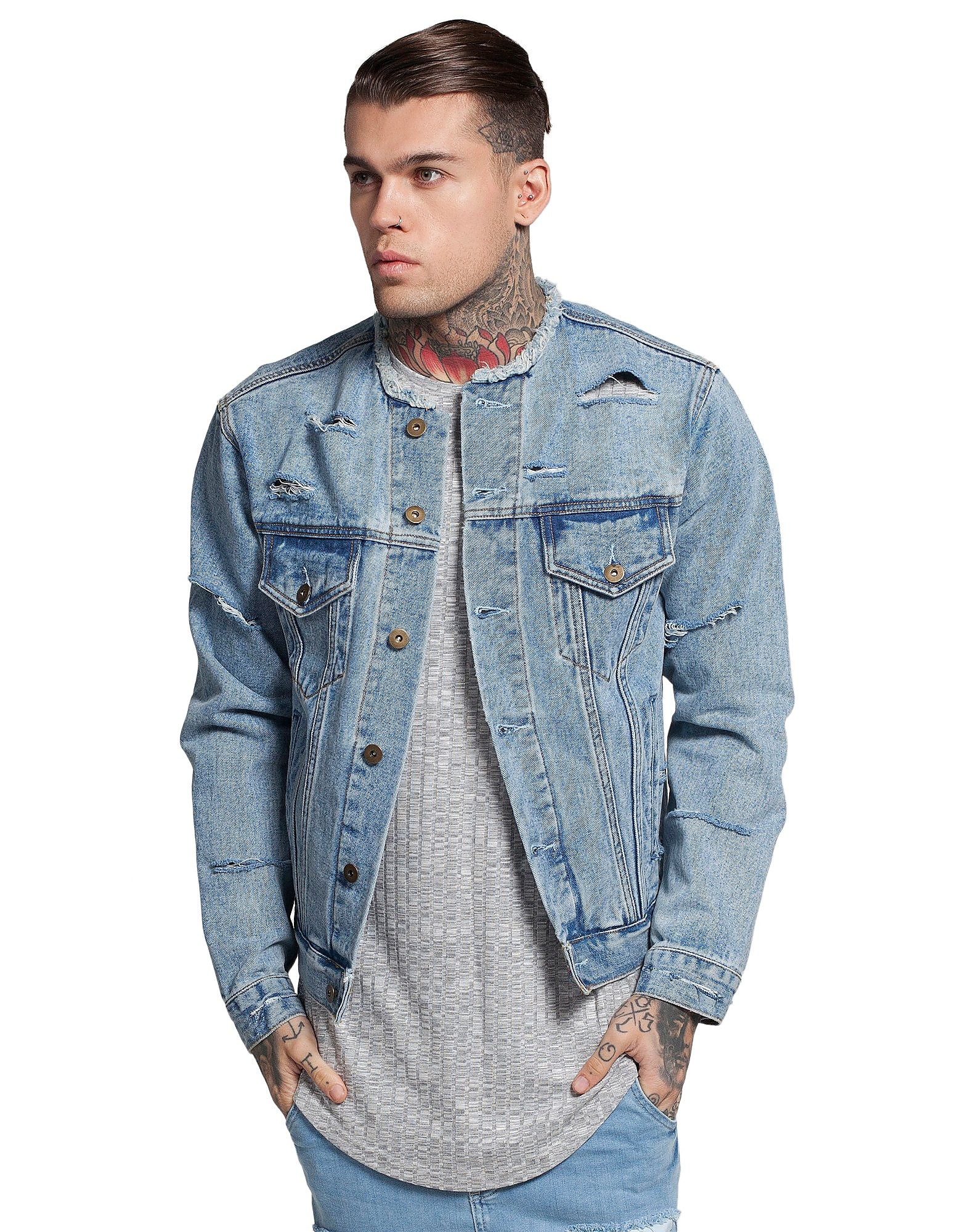 SikSilk Collarless Denim Jacket