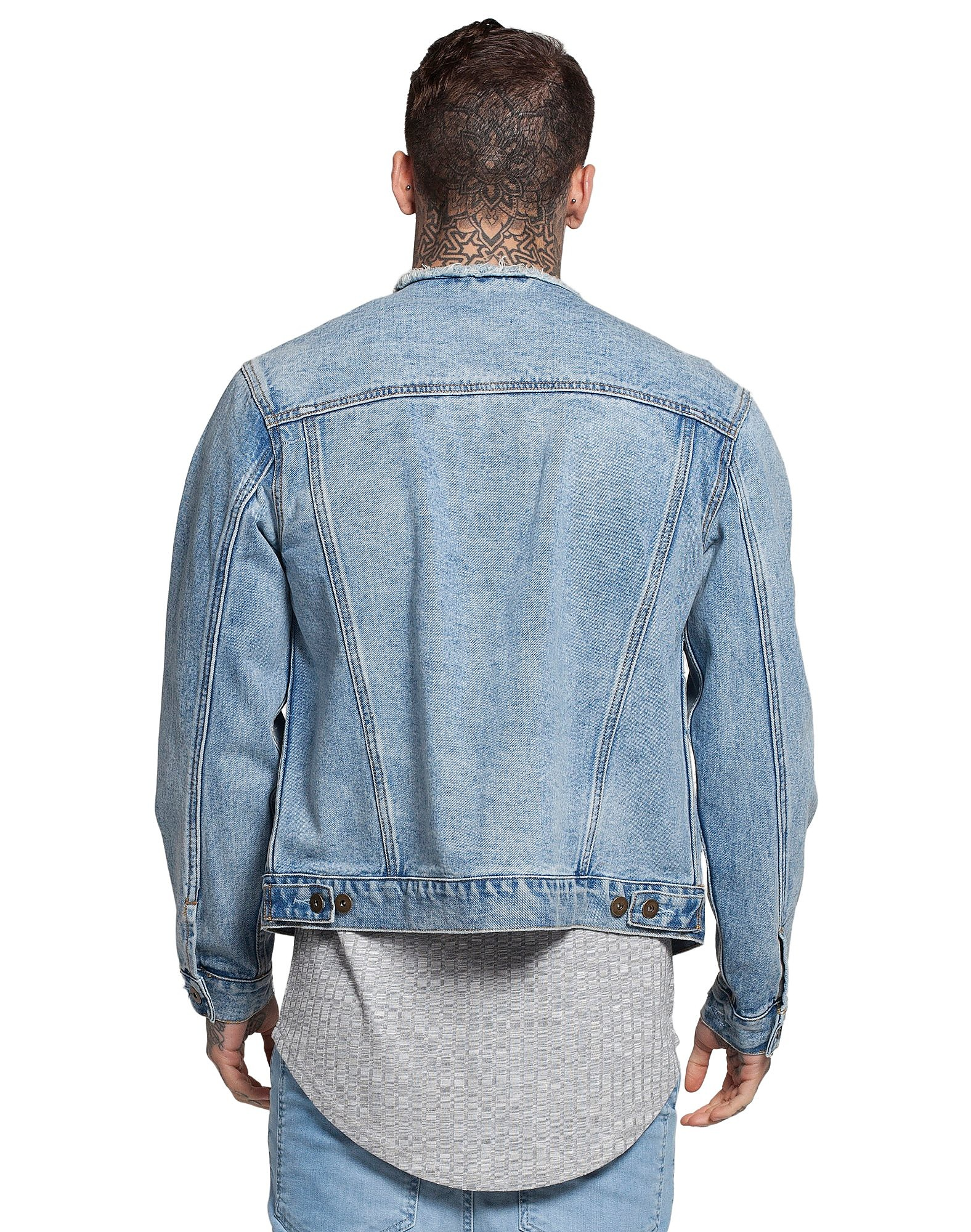 SikSilk Veste Collarless Denim Homme