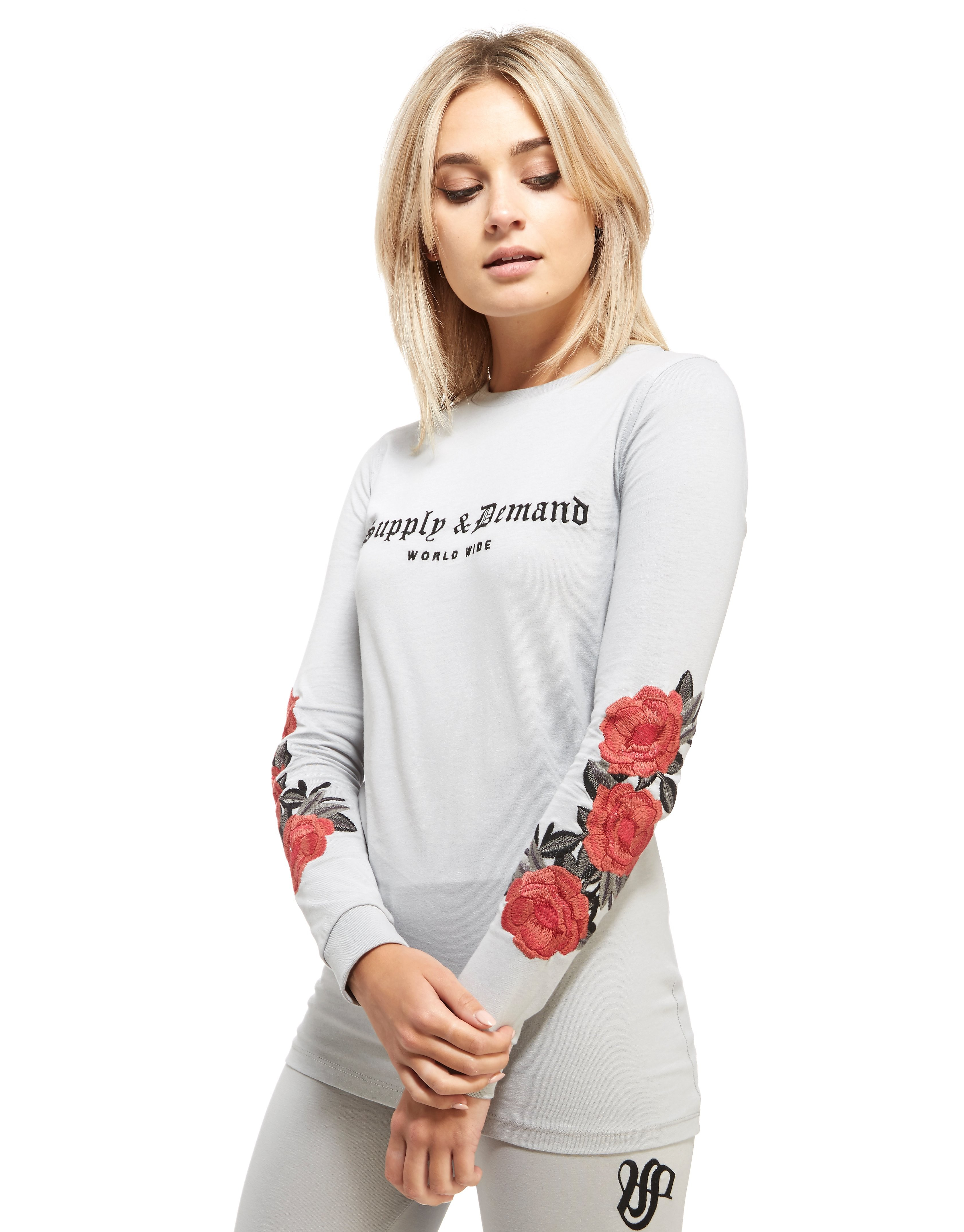 Supply & Demand Flower Embroidery T-Shirt