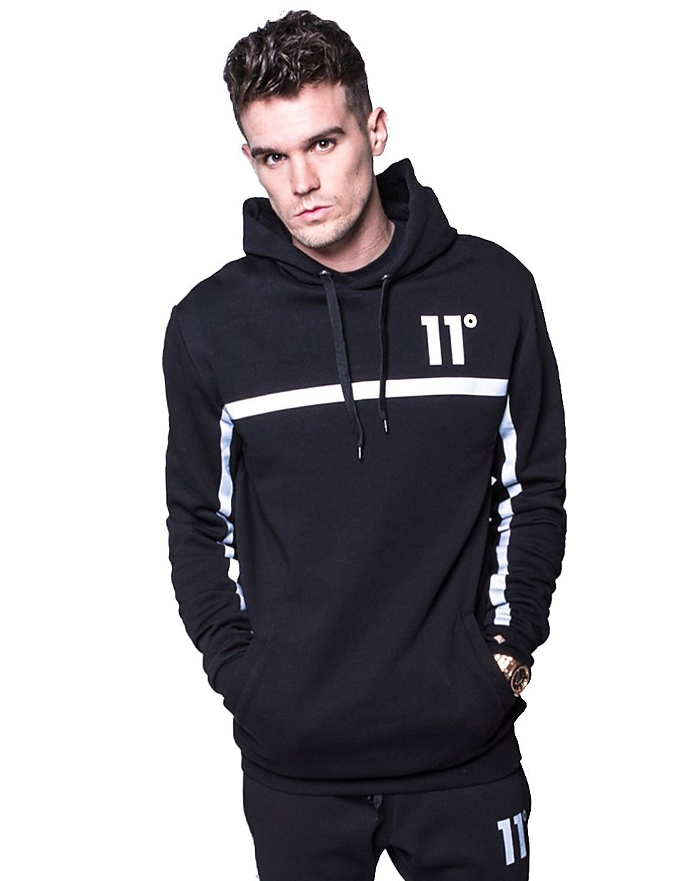 11 Degrees Reflective Centre Tape Pullover Hoody