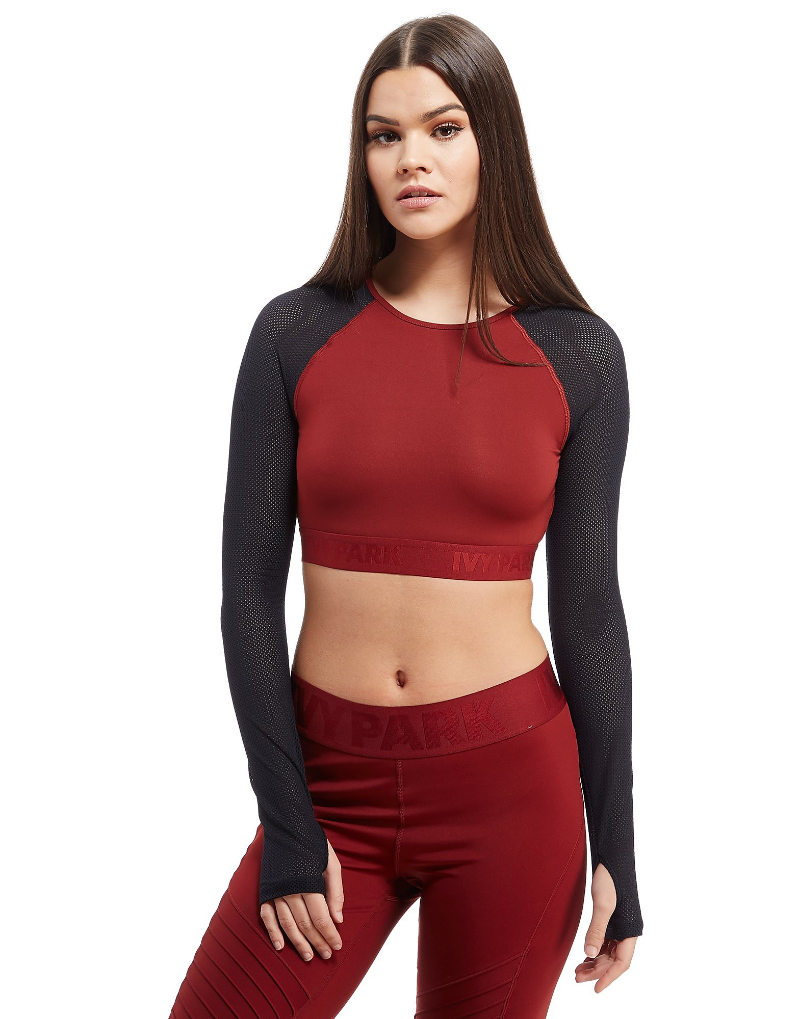 IVY PARK Tape Mesh Long Sleeve Crop Top