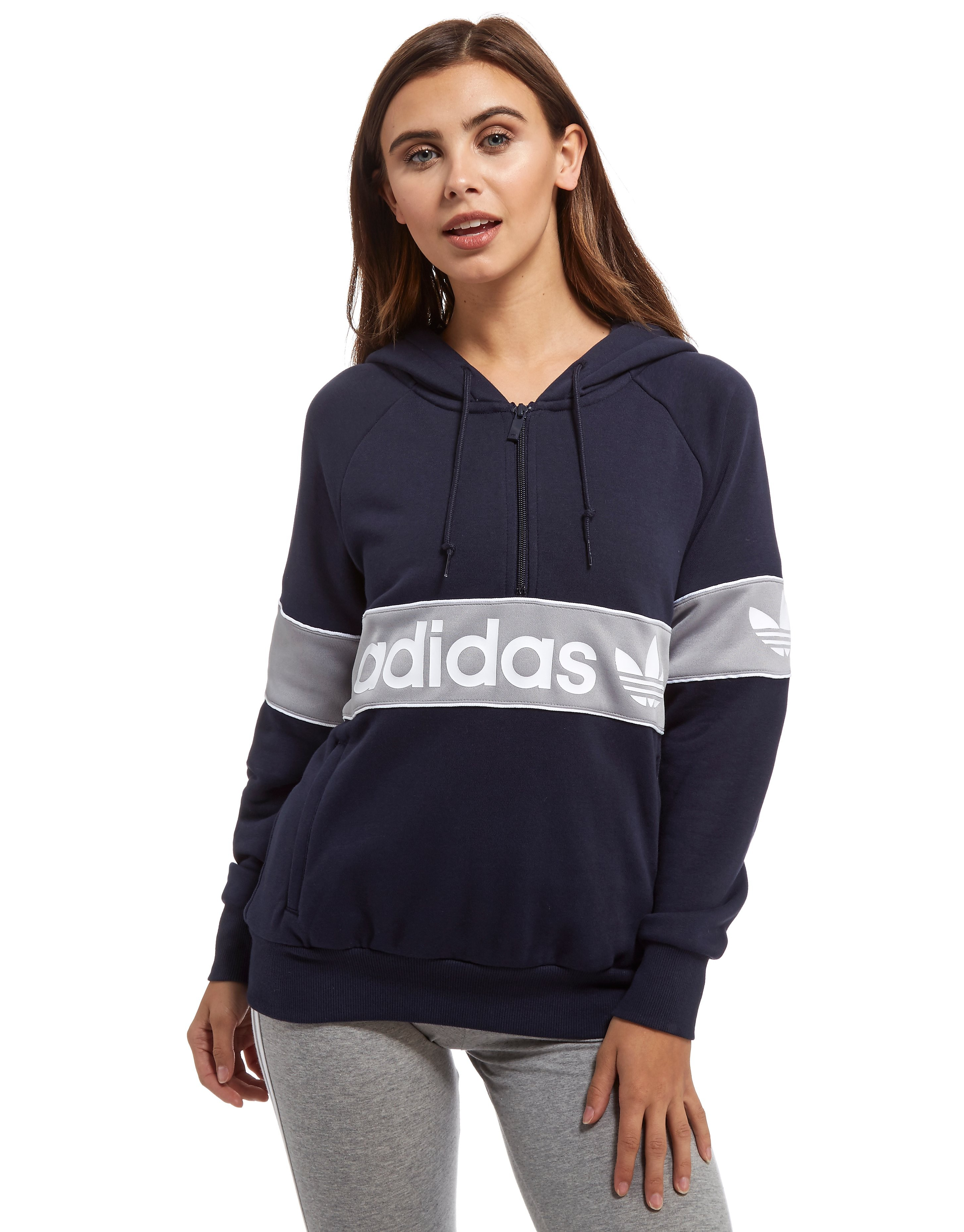 adidas Originals Sweat à Capuche Authentic Femme - Only at JD - Navy/Grey, Navy/Grey