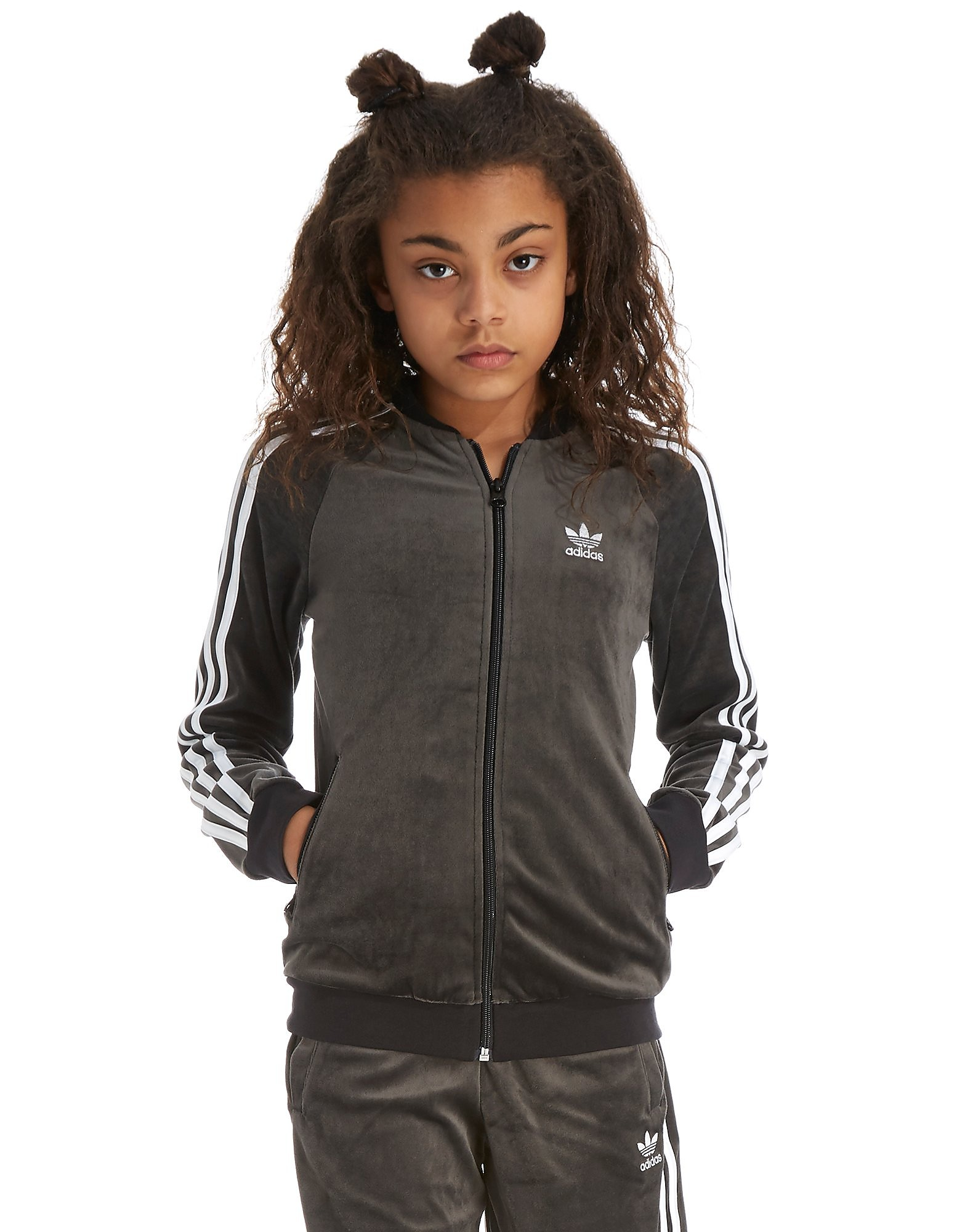 adidas Originals Girls' Velour Jacket Junior