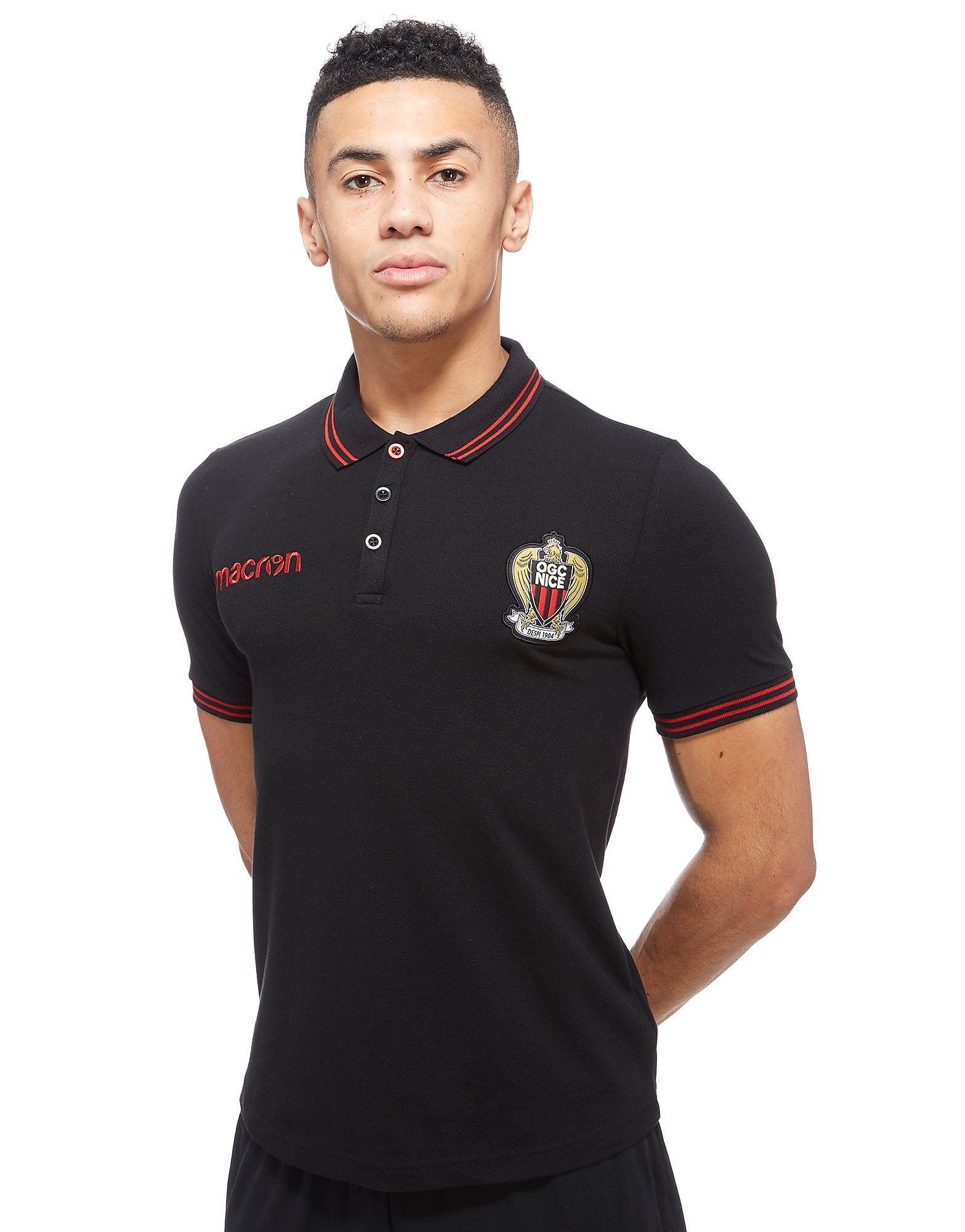 Macron OGC Nice 2017/18 Polo T-Shirt - Black/Red, Black/Red