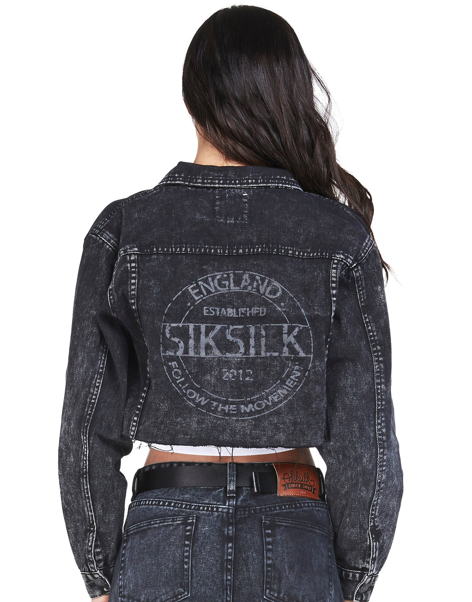 SikSilk Raw Edge Crop Denim Jacket