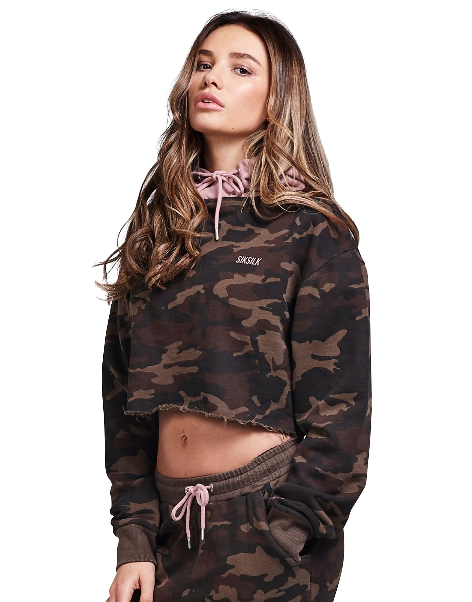SikSilk Crop Camo Sweat